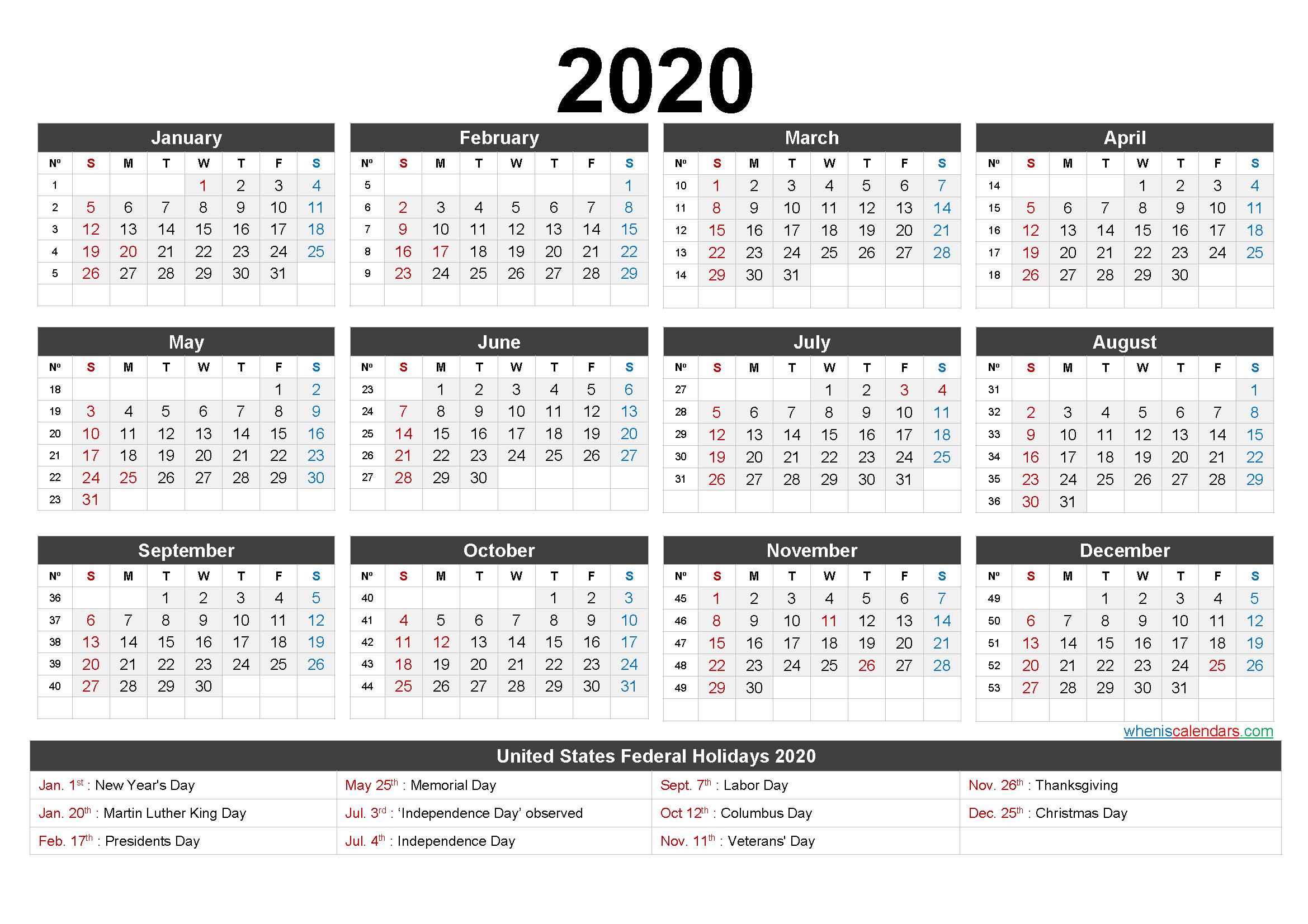 Printable 2020 Calendar One Page