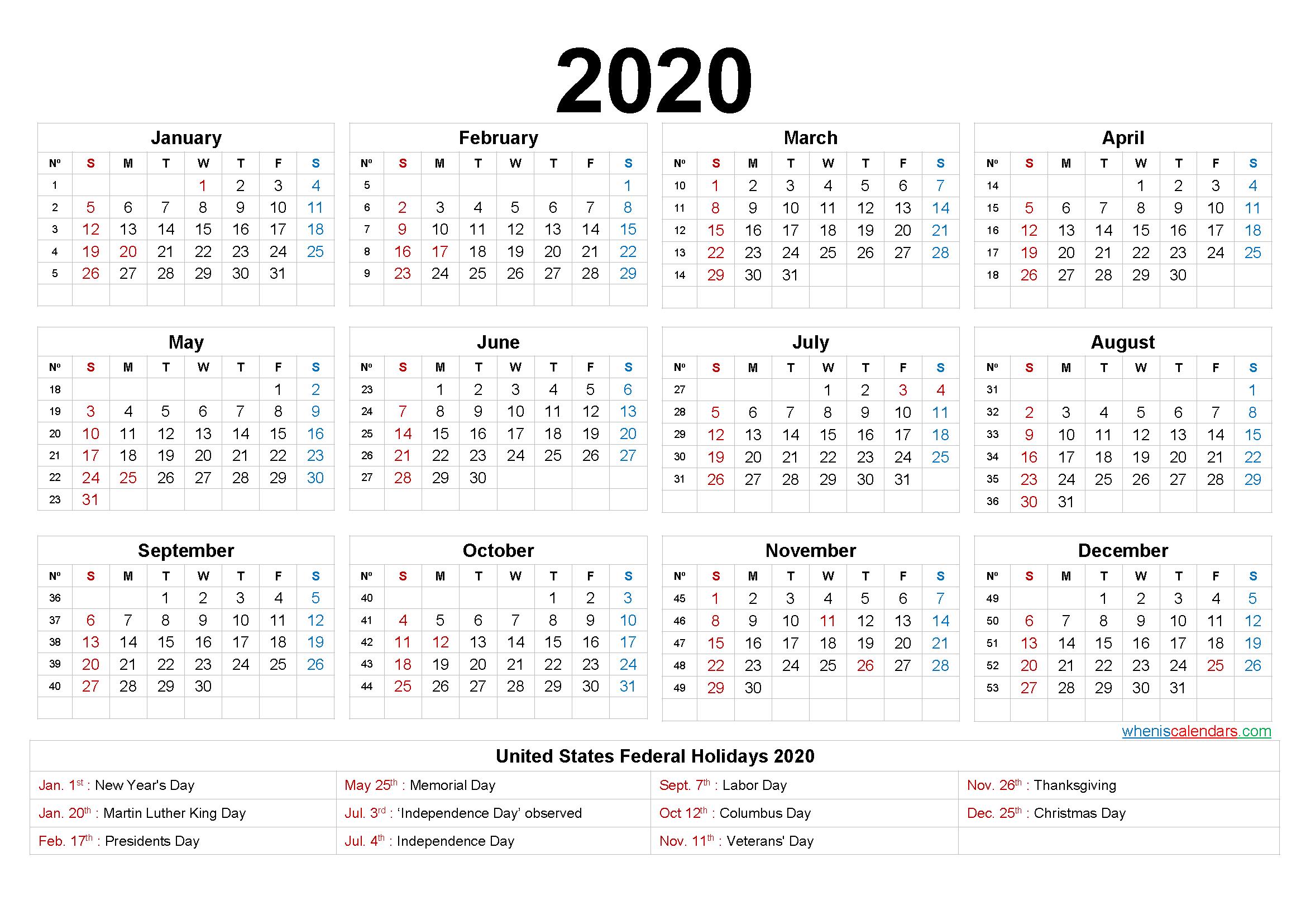 2020 Calendar with Week Numbers Printable