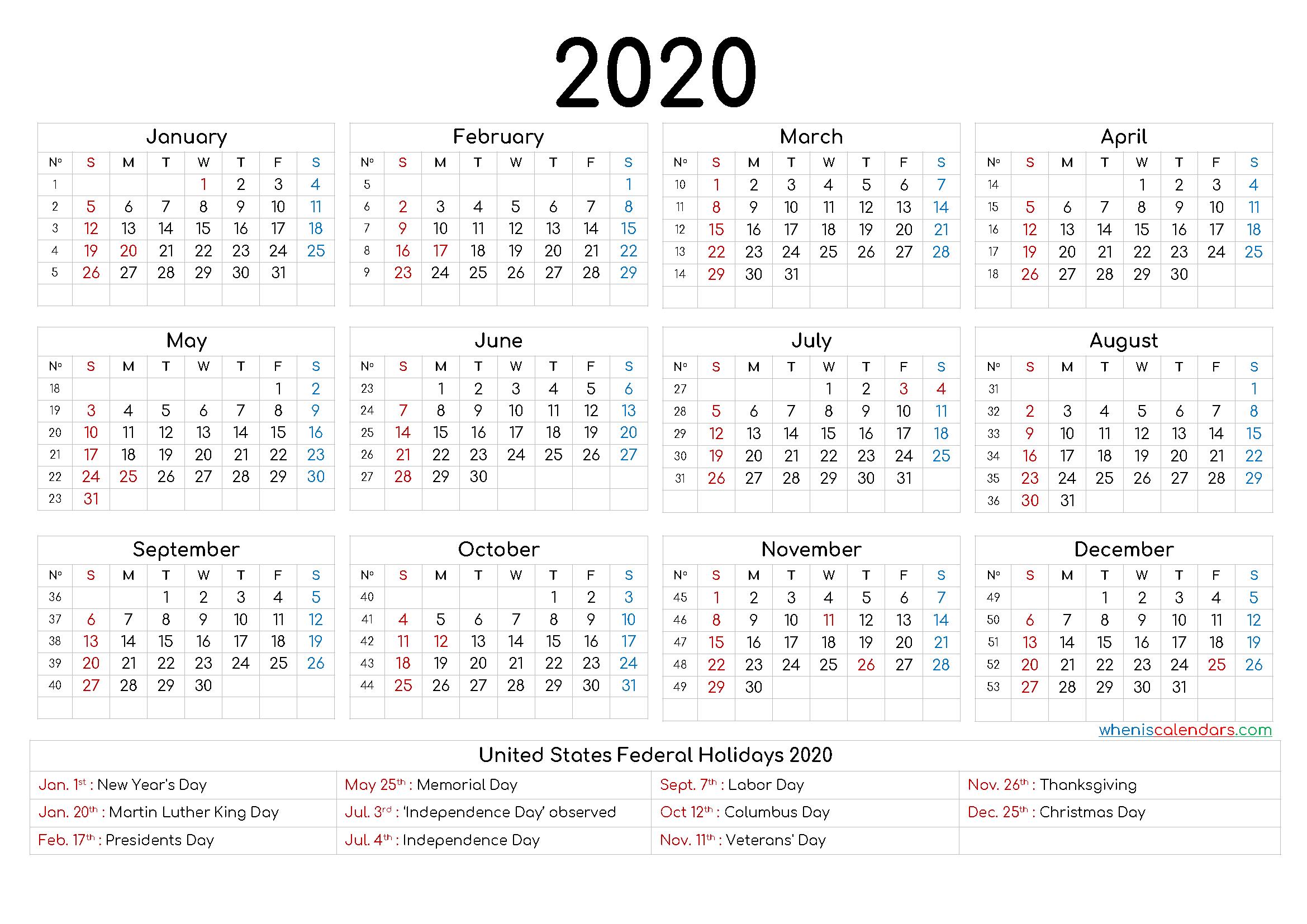Free Printable 2020 Calendar with Holidays