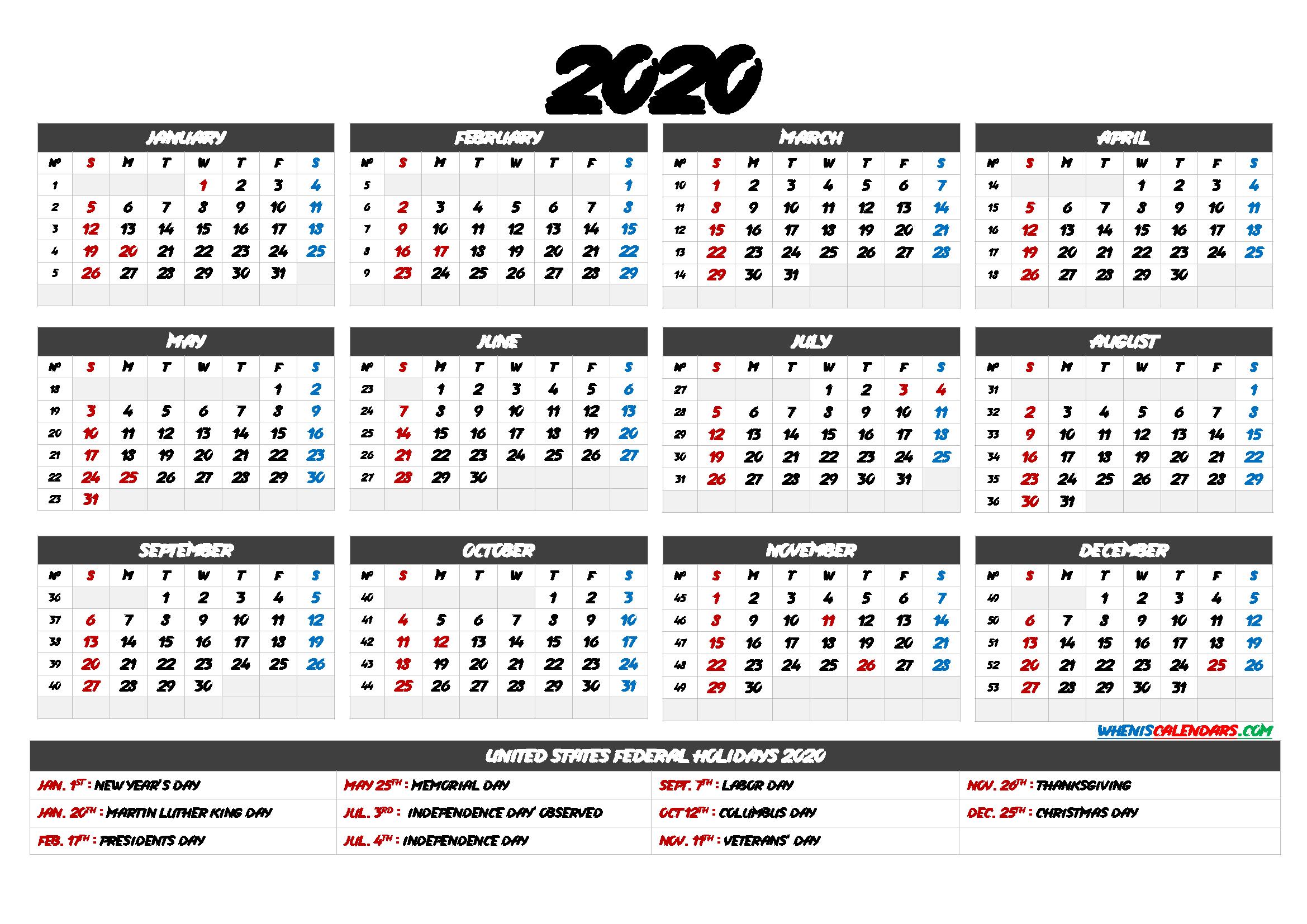 2020 Calendar with Holidays Printable