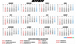 Free Printable 2020 Yearly Calendar with Holidays