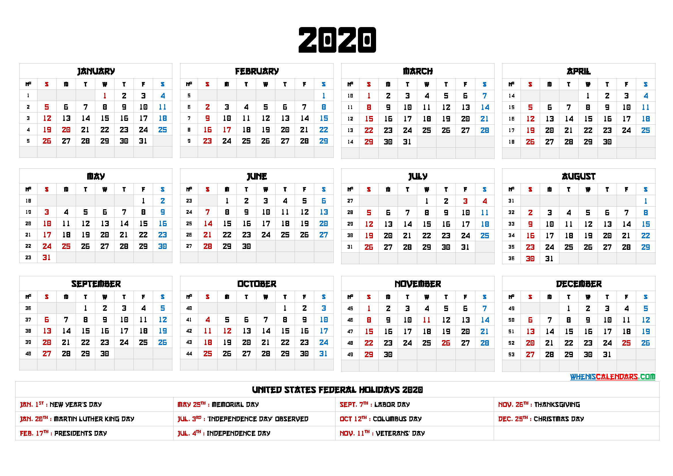 Free Printable Calendar 2020 with Holidays