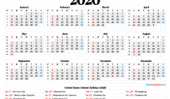 Free Printable 2020 Calendar with Holidays