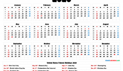 2020 Calendar with Holidays Printable