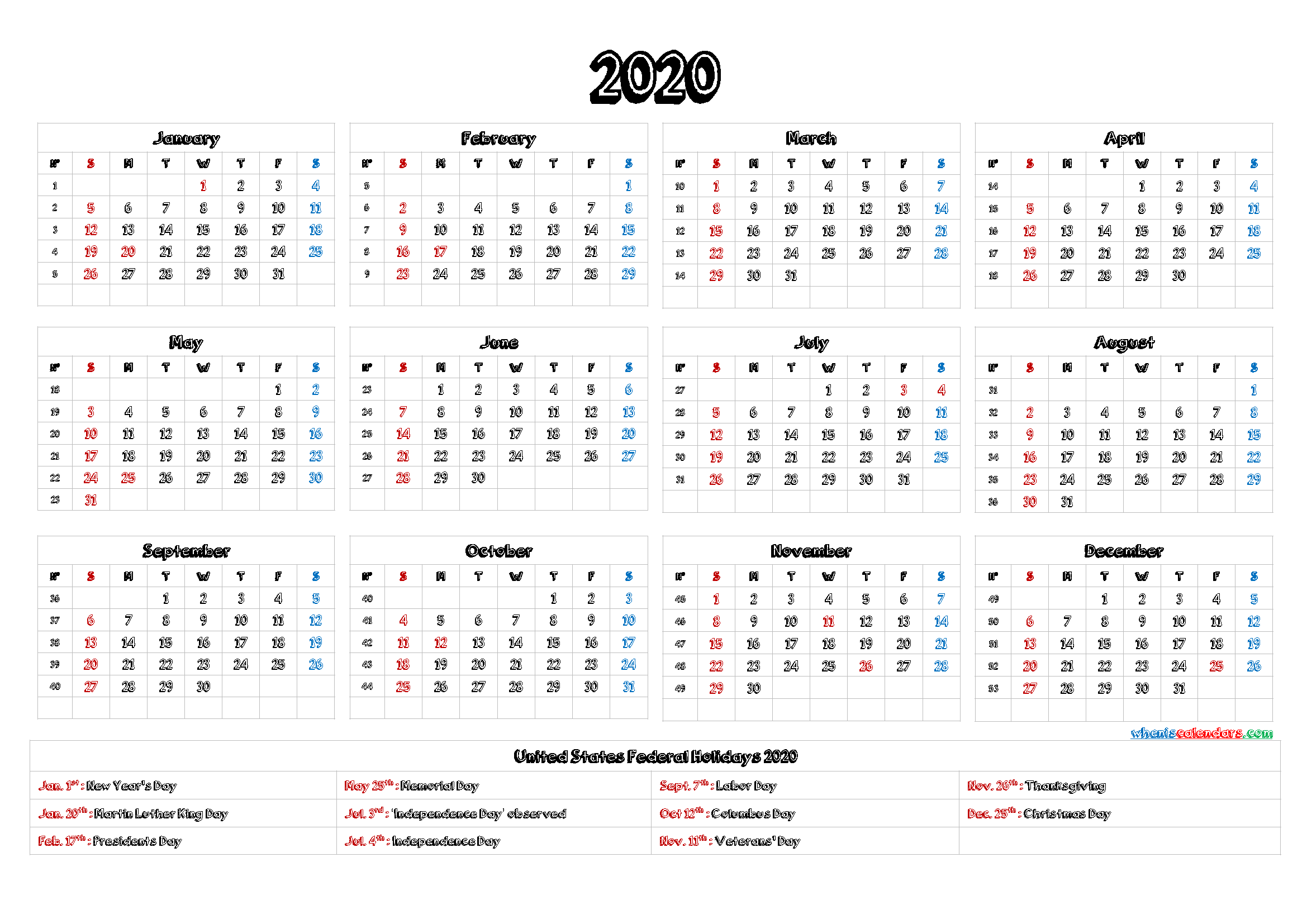 2020 Yearly Calendar template Word