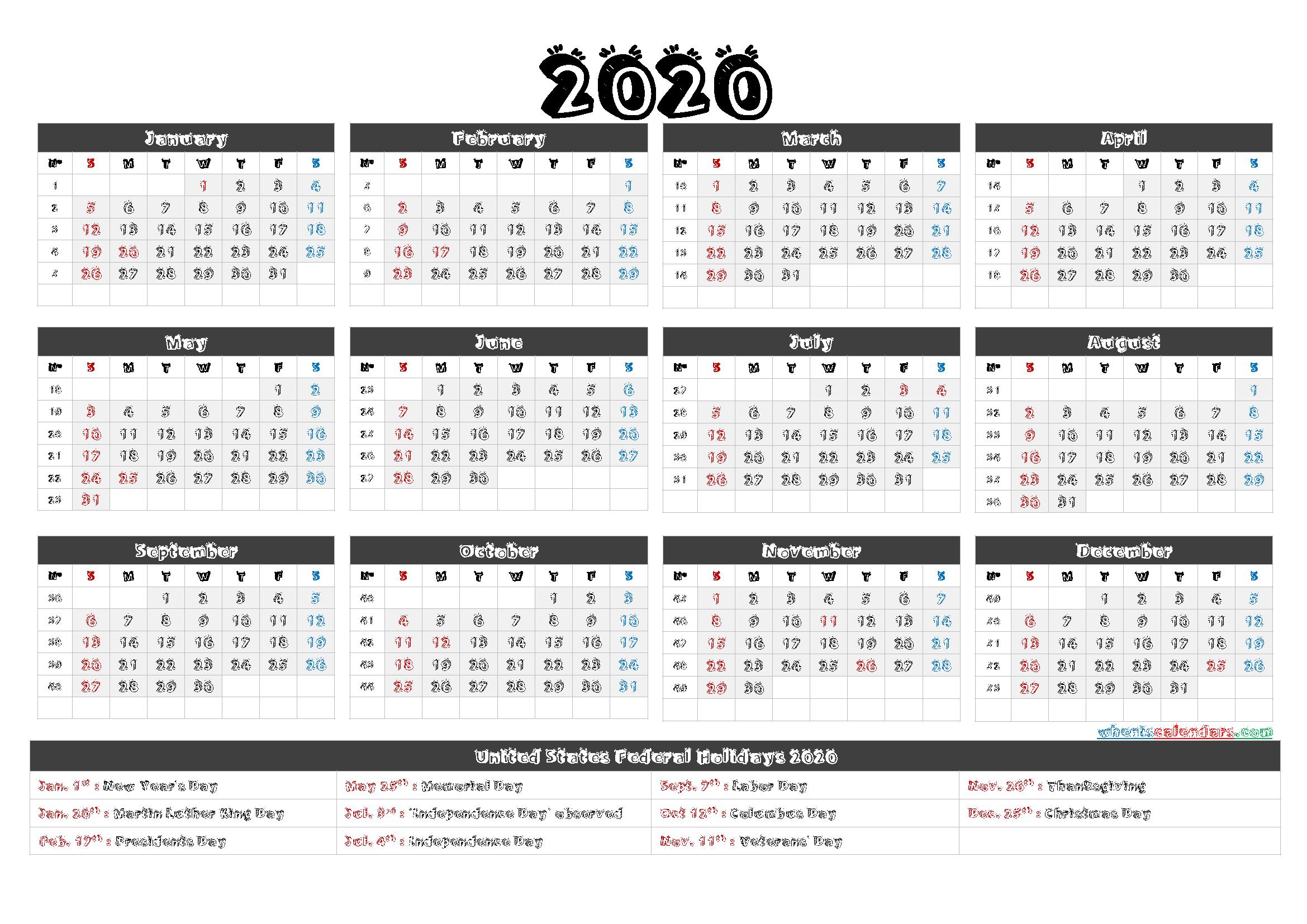 Printable Calendar 2020 with Holidays