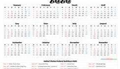 Printable 2020 Calendar with Holidays