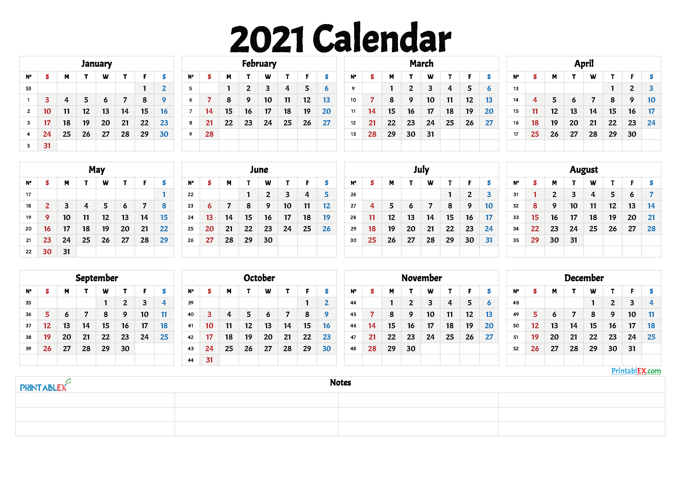 Free Printable 2021 Yearly Calendar with Week Numbers