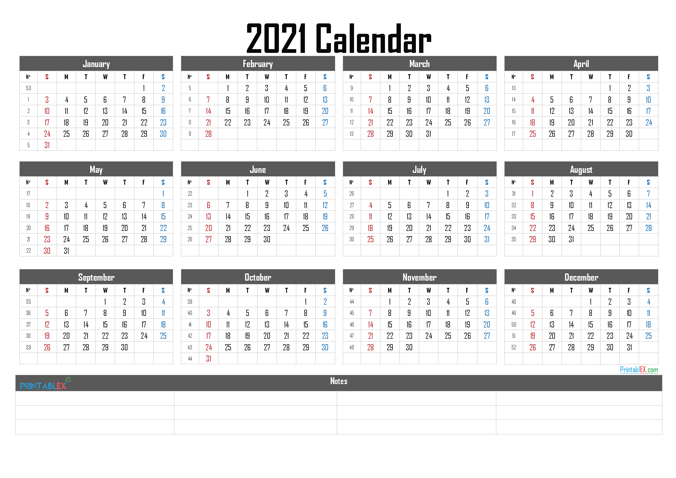 2021 Calendar with Week Numbers Printable - 21ytw19 - Free ...