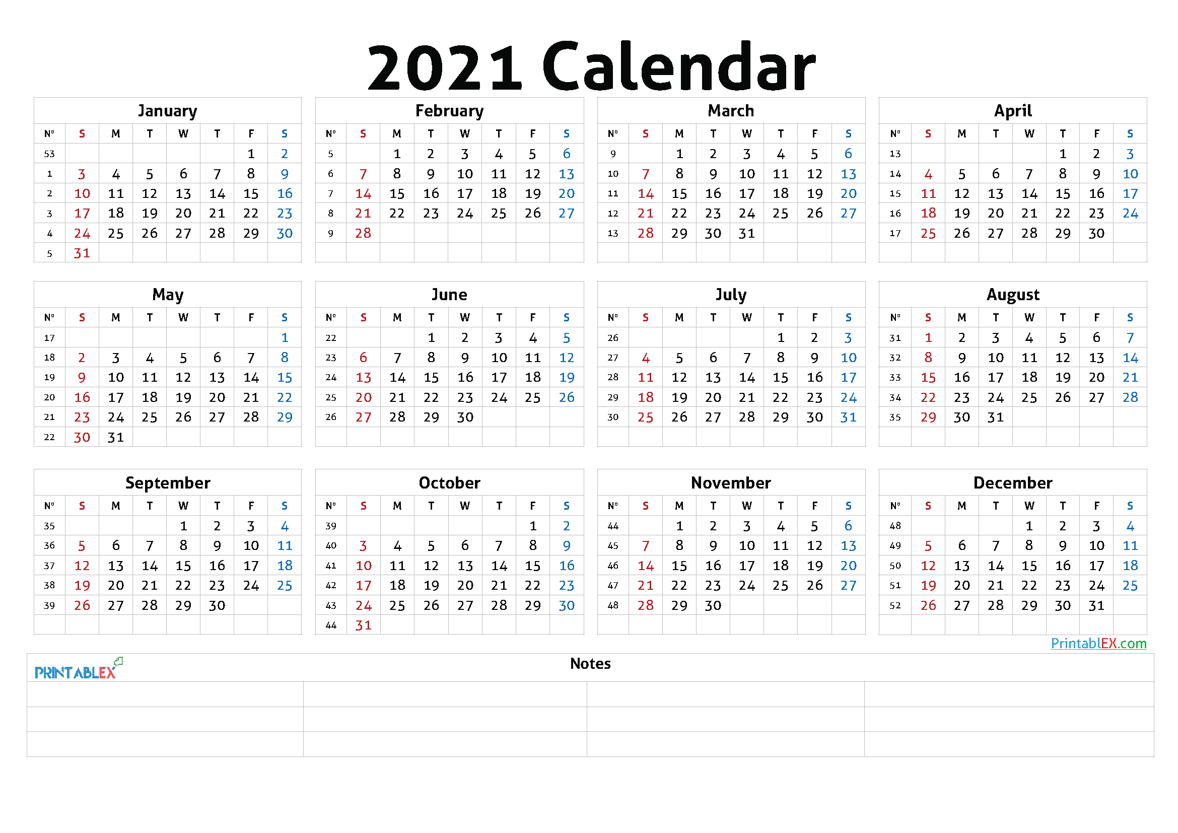 Printable 2021 Calendar by Year