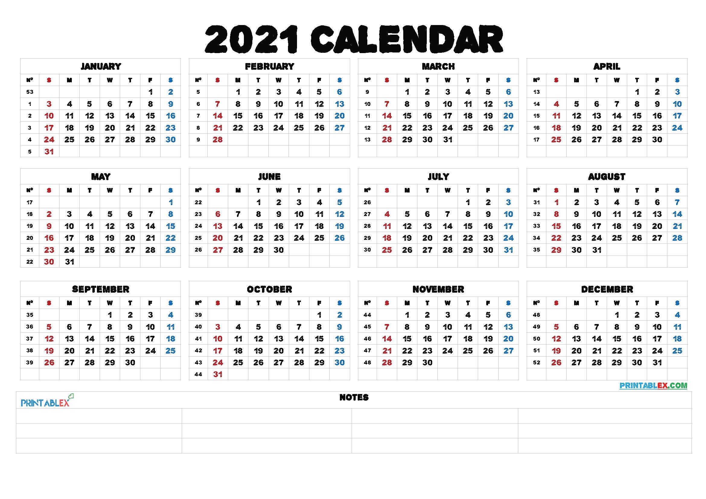 Printable 5 By 8 2021 Calendar / 8 5x11 Printable Calendar ...