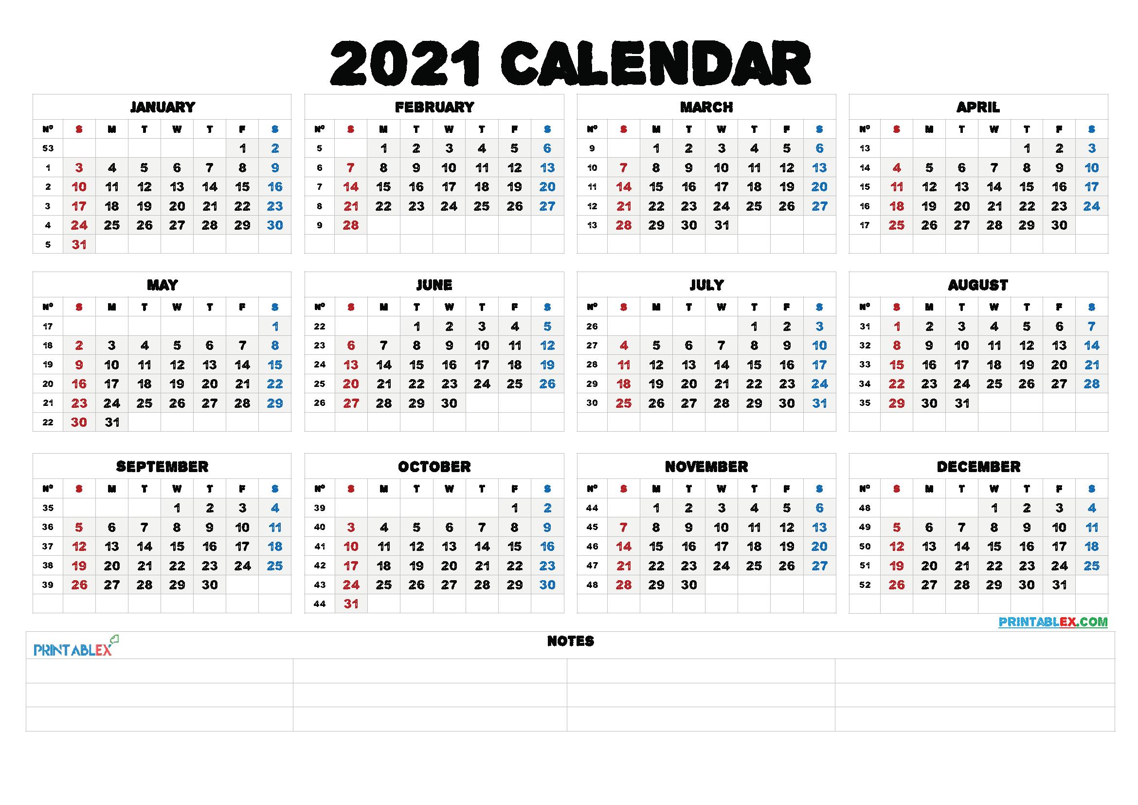 2021 Calendar With Week Number Printable Free : Free ...