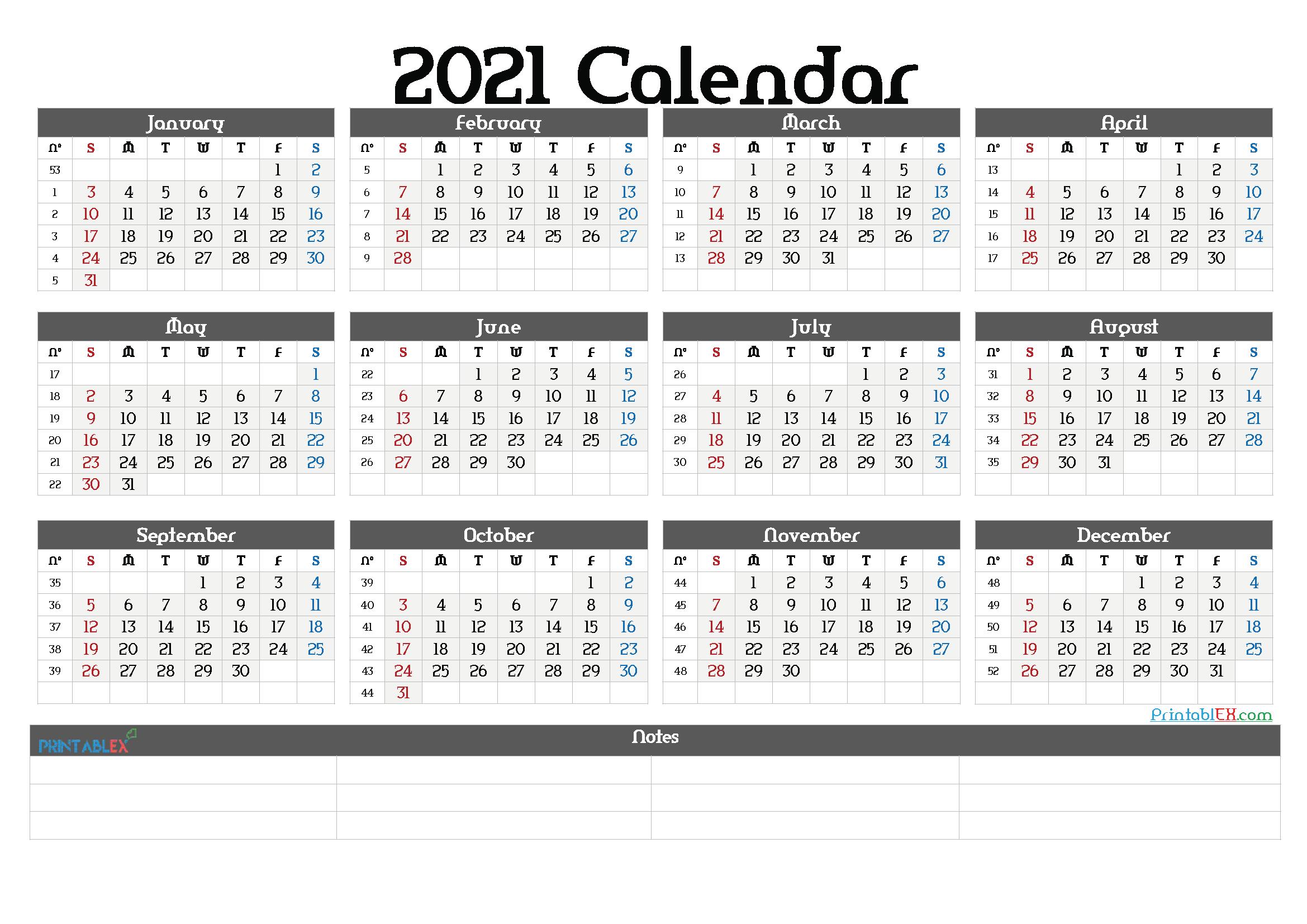 Free Printable 2021 Yearly Calendar with Week Numbers