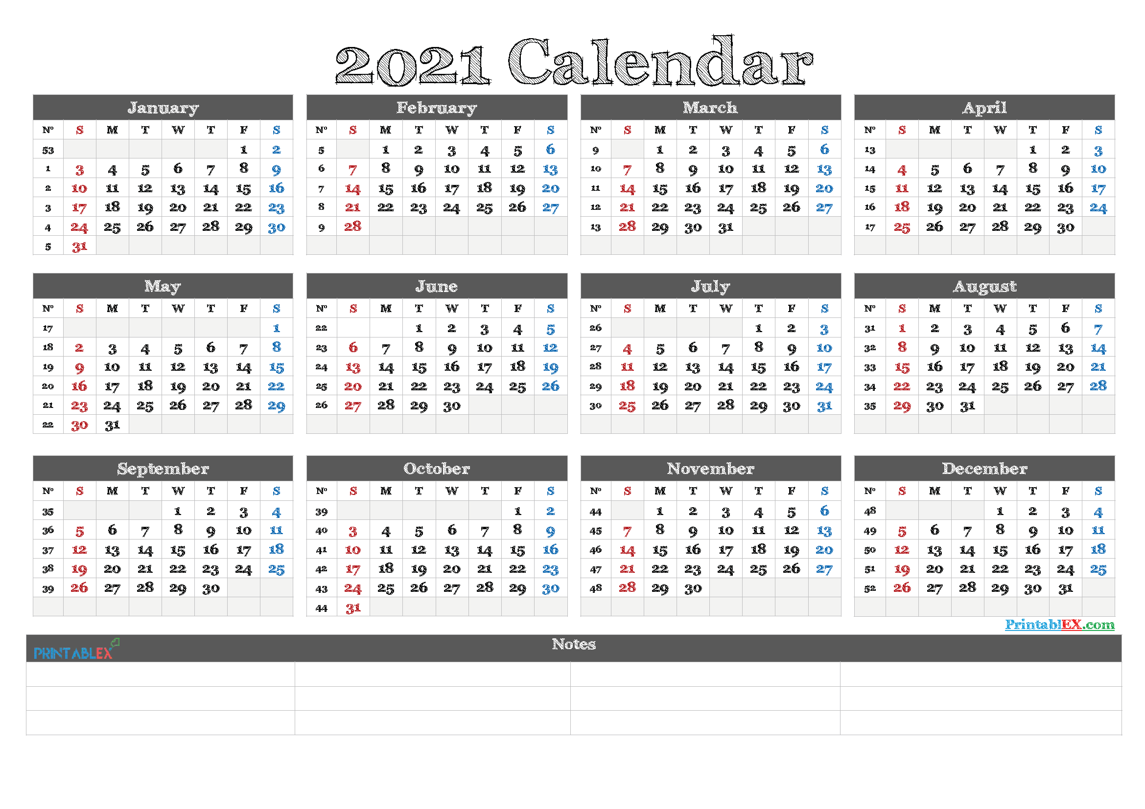 2021 Yearly Calendar Template Word - 21ytw80 - Free ...