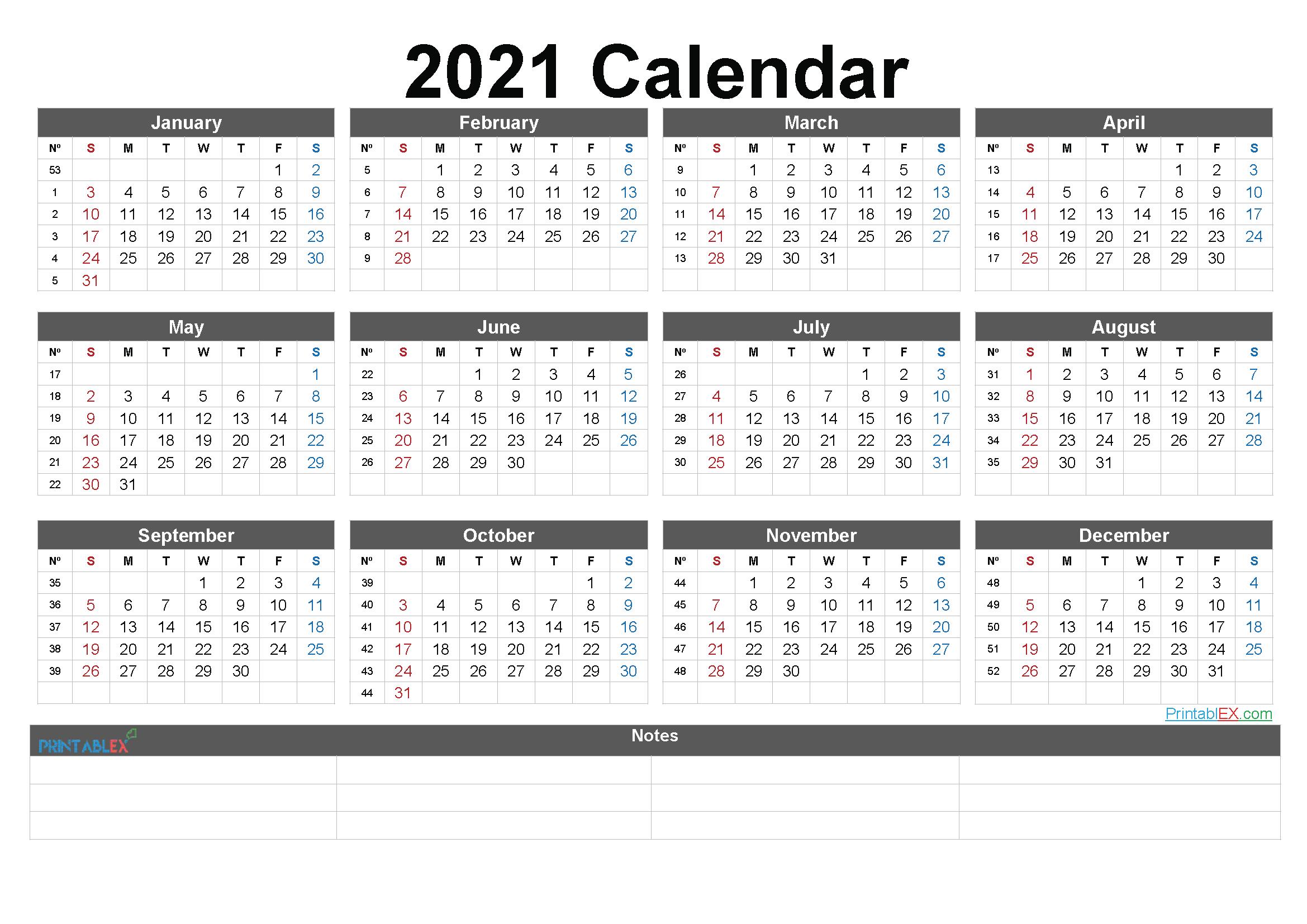 Free Cute Printable Calendar 2021 - 21ytw91