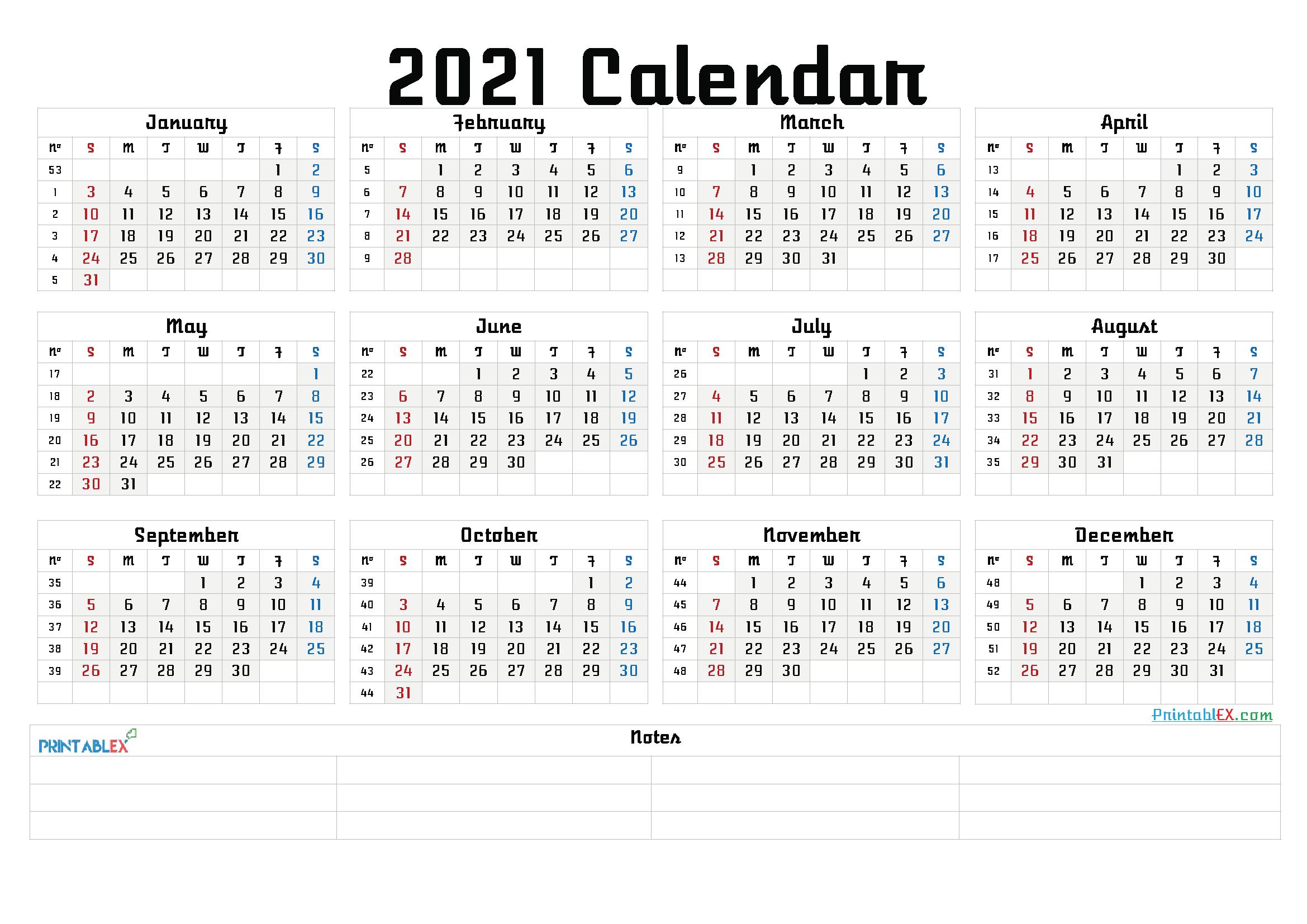 Printable 2021 Calendar by Month - 21ytw108 - Free ...