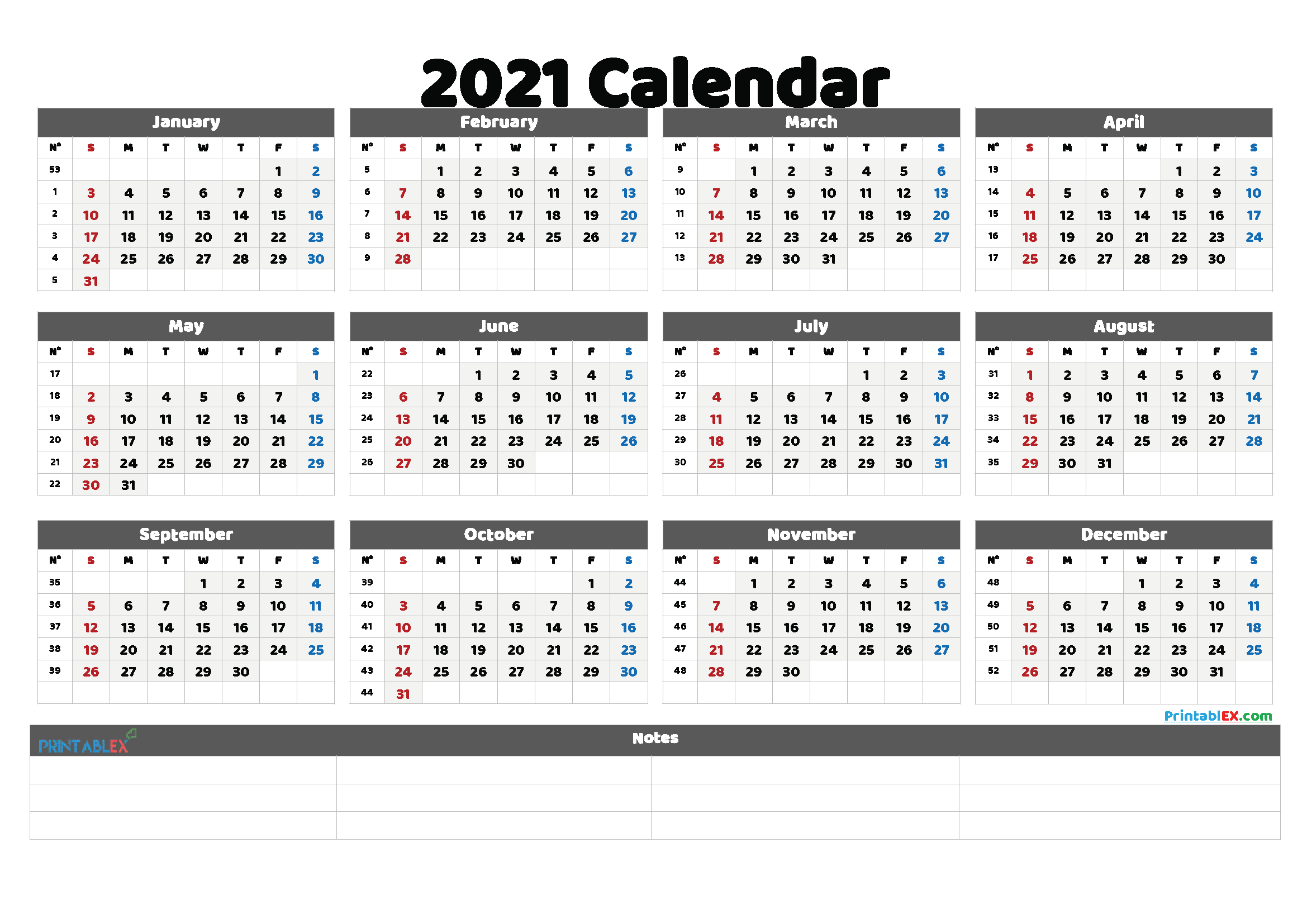 2021 Free Printable Yearly Calendar with Week Numbers (Font: inkfr)