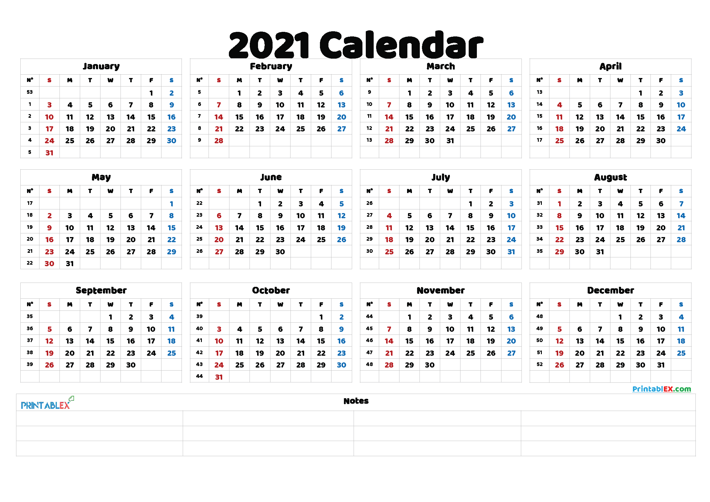 2021 Printable Yearly Calendar with Week Numbers (Font: insom)
