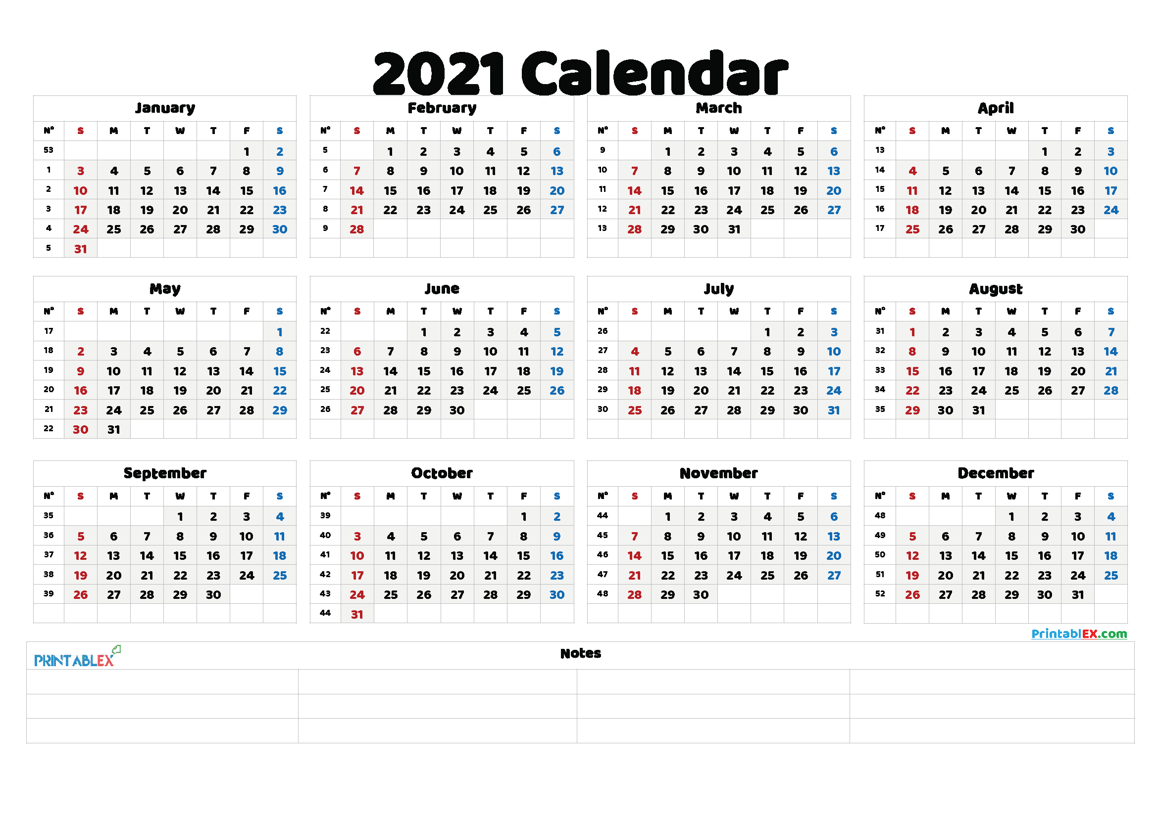 Free Printable 2021 Yearly Calendar with Week Numbers (Font: istok)