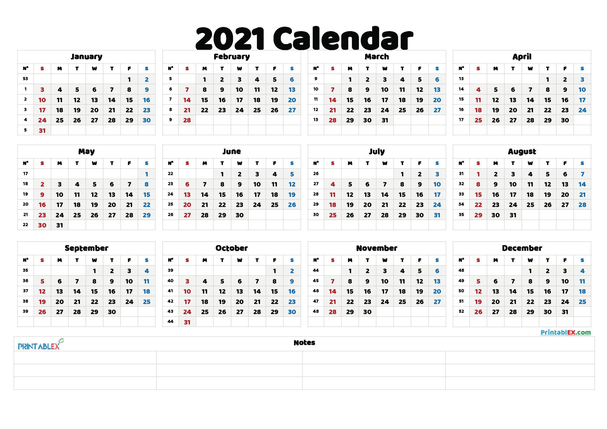 Free Printable 2021 Yearly Calendar with Week Numbers ...