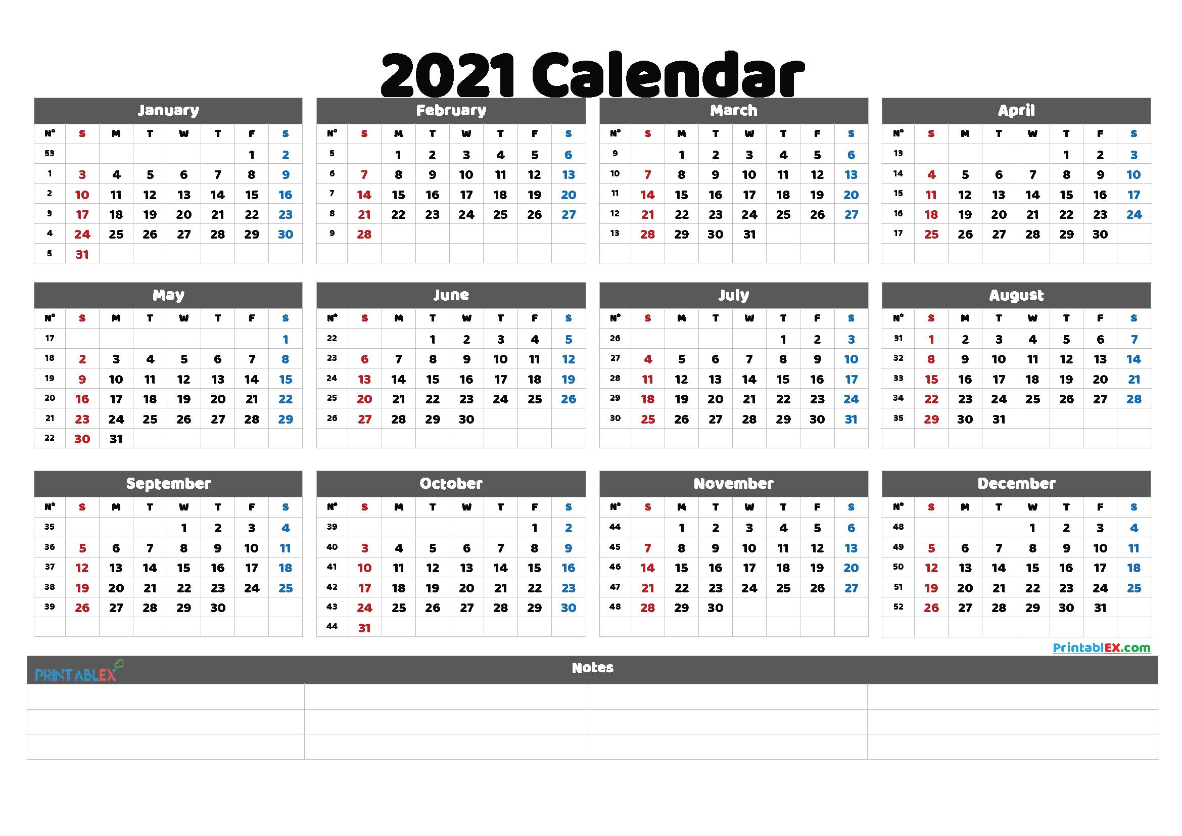 Free Cute Printable Calendar 2021 (Font: impri)