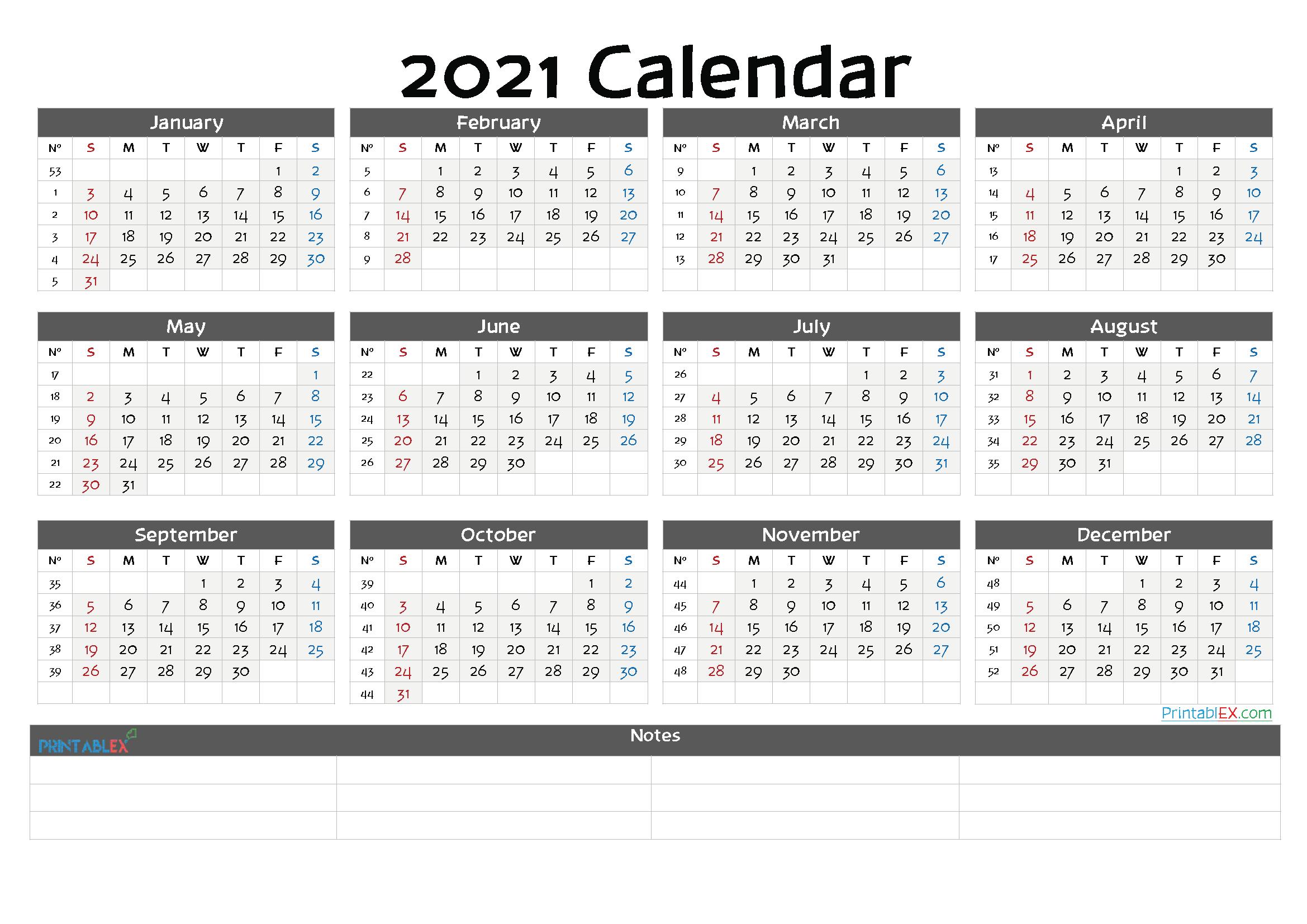 Printable 2021 Calendar Templates (Font: jungl)