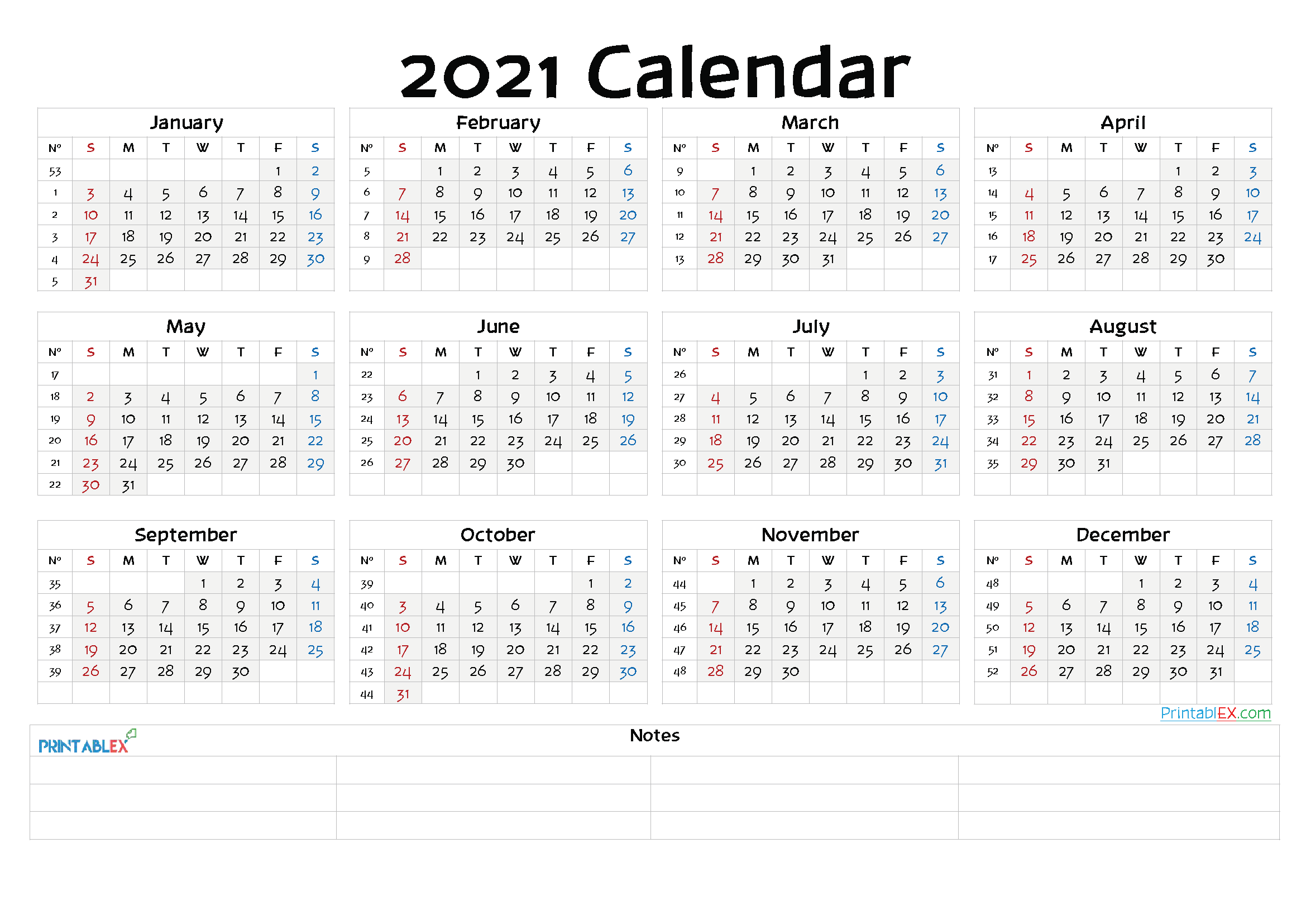 2021 Free Yearly Calendar Template PDF (Font: keepo)