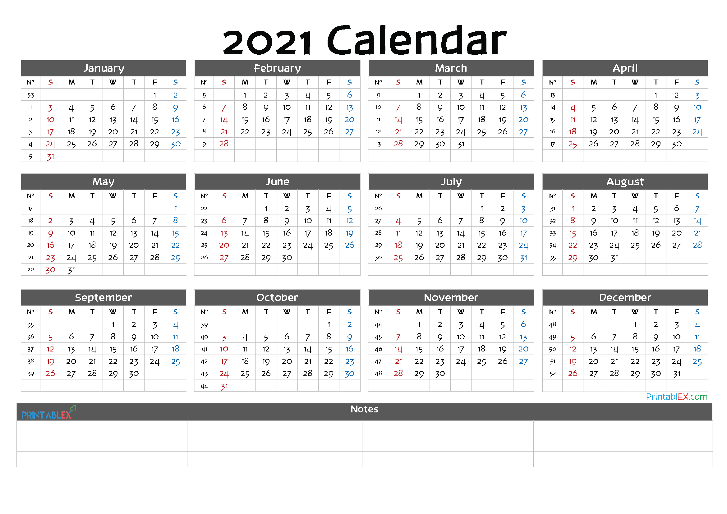 Printable 2021 Yearly Calendar (Font: jelly)