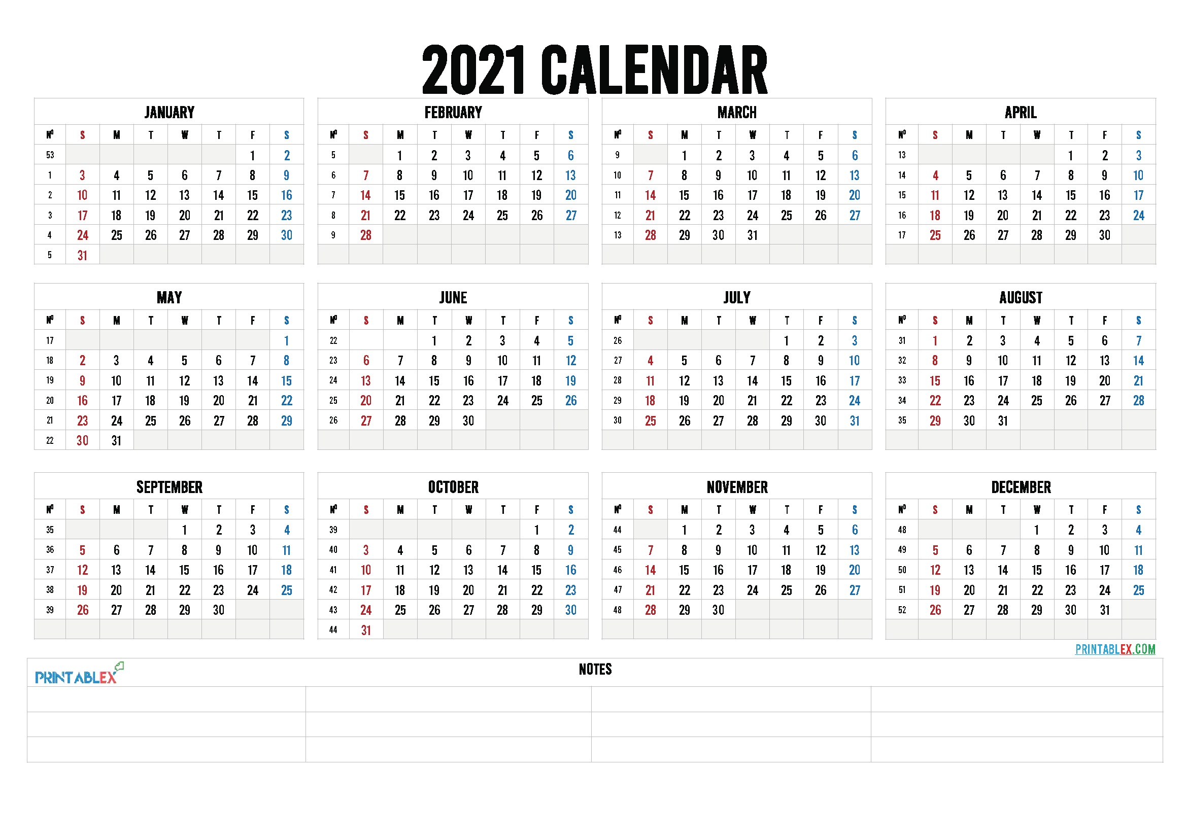 Free Printable 2021 Calendar by Year (Font: kirsty)