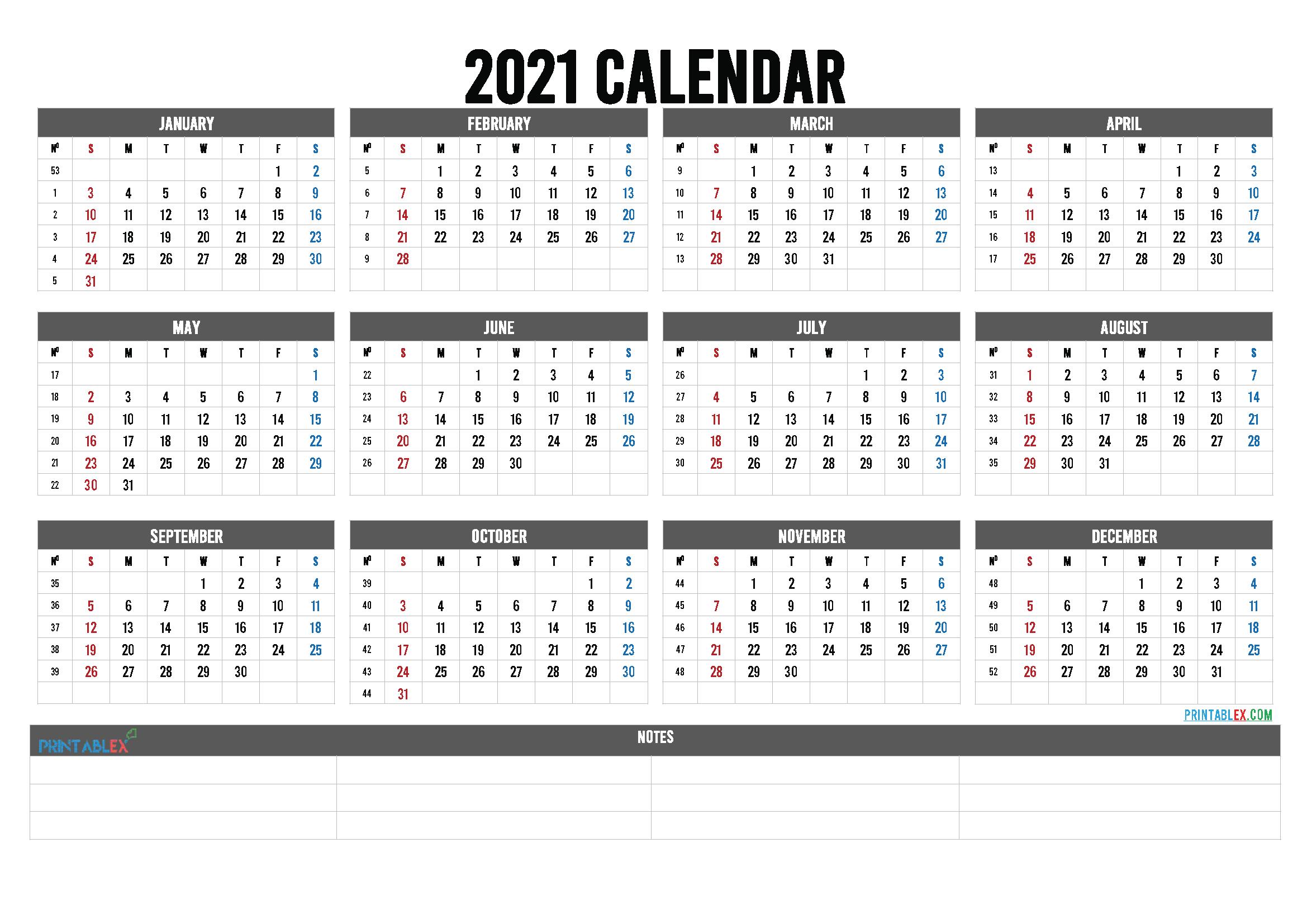 2021 Calendar with Week Numbers Printable (Font: ketsa)