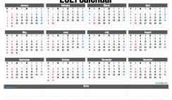 2021 Printable Yearly Calendar with Week Numbers
