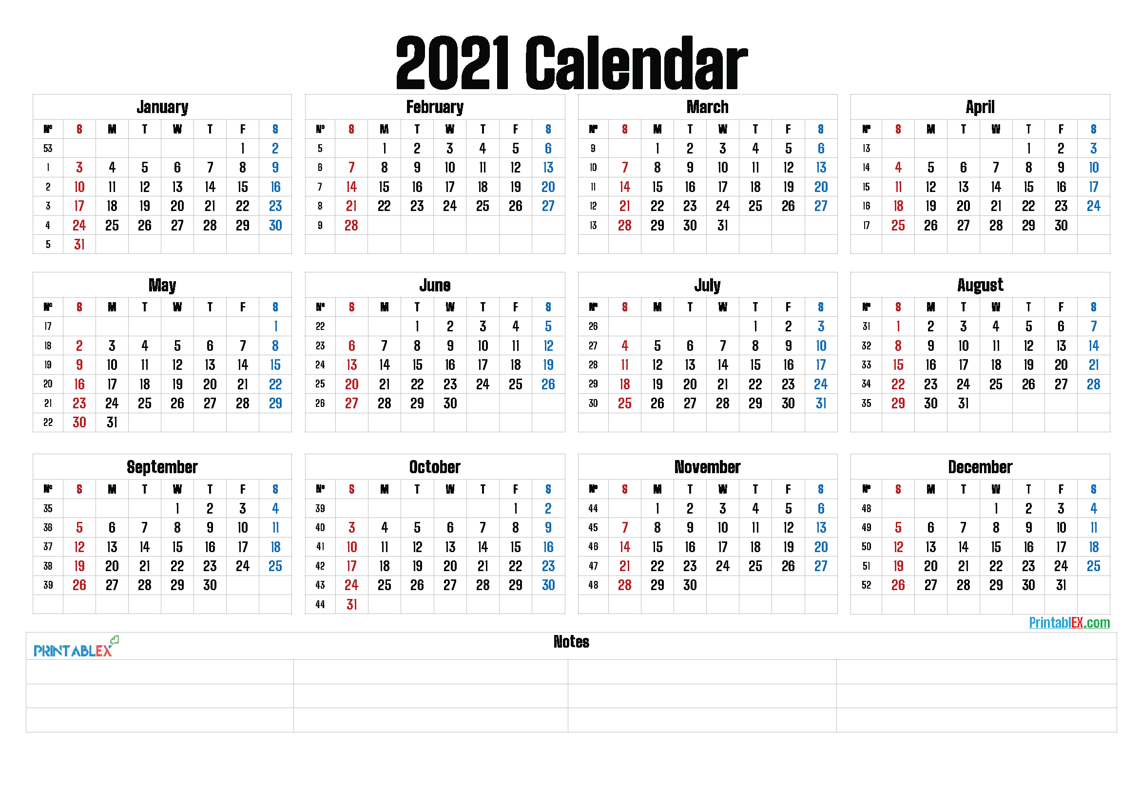 Printable 2021 Yearly Calendar (Font: letter)