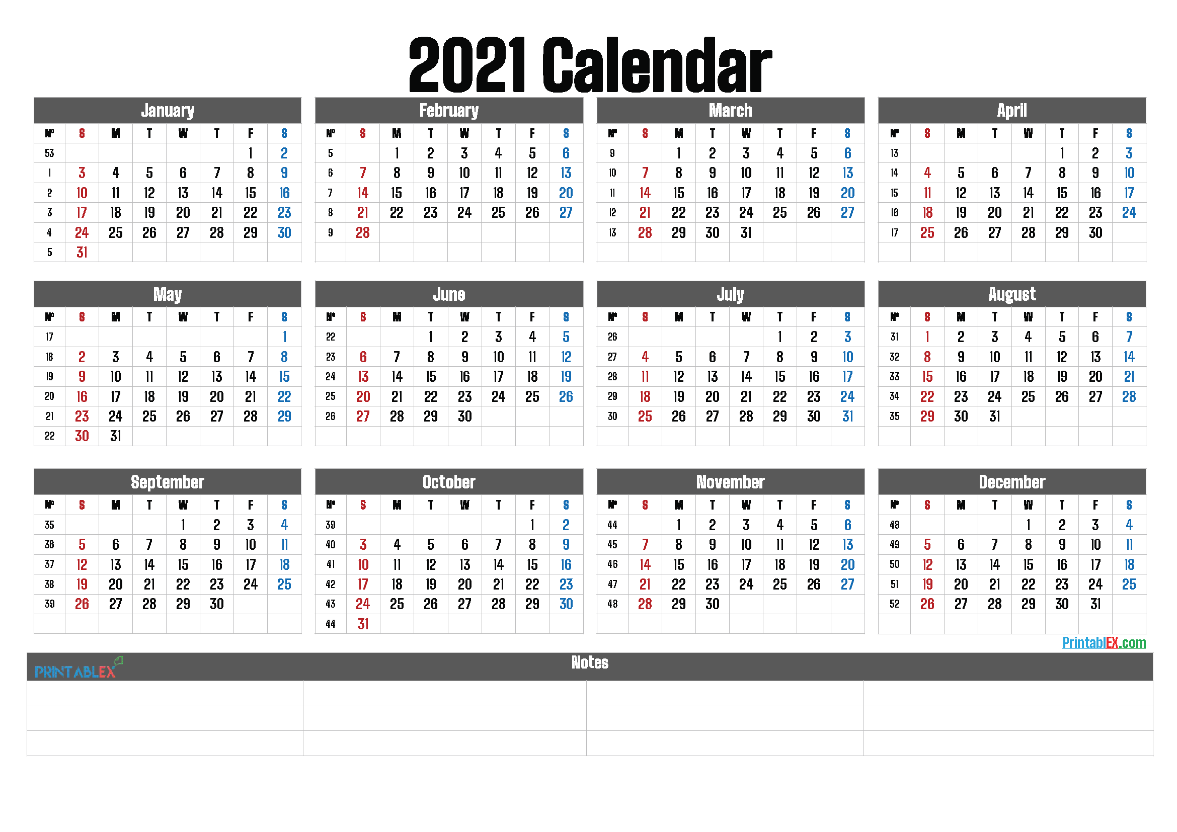 2021 Printable Yearly Calendar with Week Numbers (Font: leand)