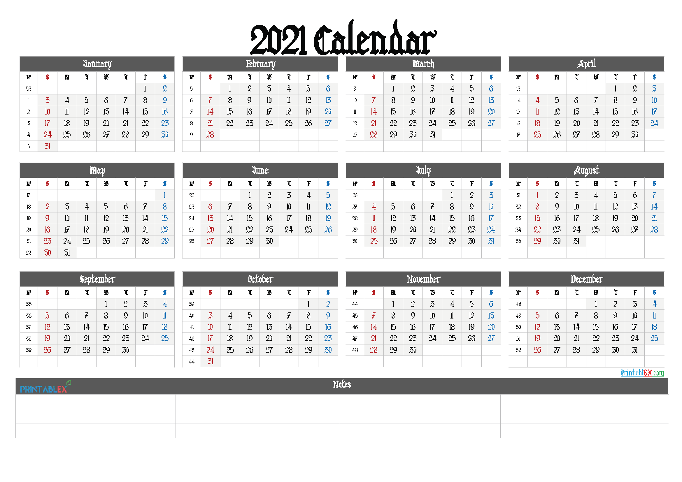 2021 Free Yearly Calendar Template PDF (Font: lovebeat)