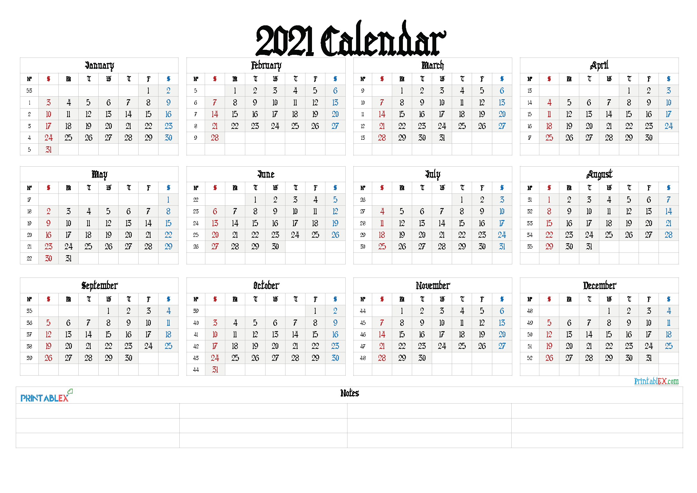 Printable Calendar Templates 2021 (Font: macon)