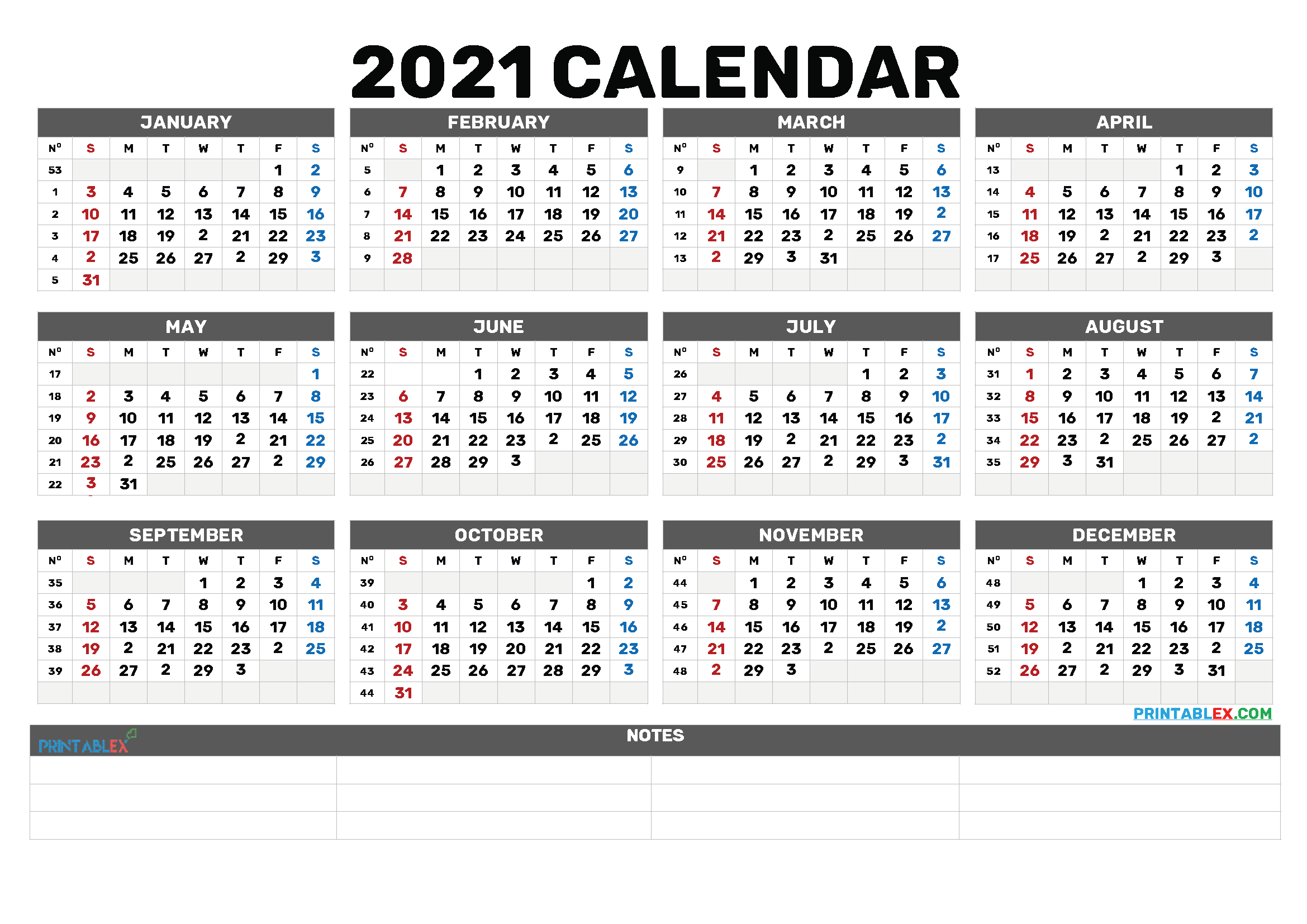 Free Printable 2021 Calendar by Year (Font: magneto)