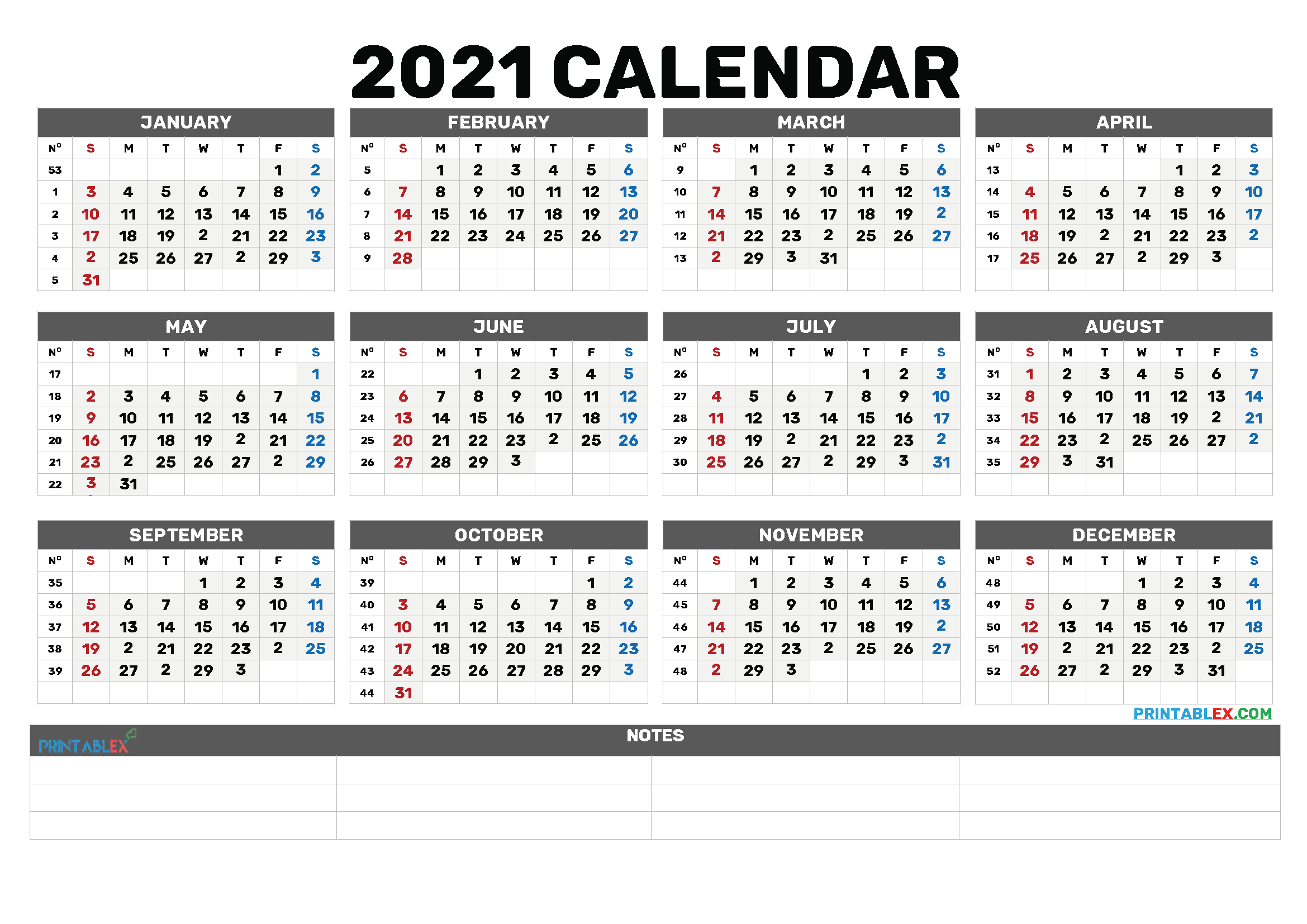 Printable 2021 Calendar by Month (Font: maiden)