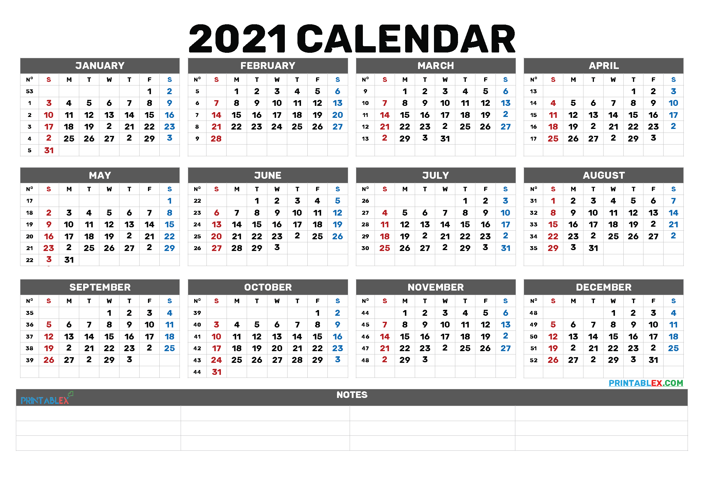 Free Printable 2021 Calendar by Month (Font: magenta)