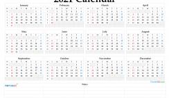 Free Printable 2021 Yearly Calendar