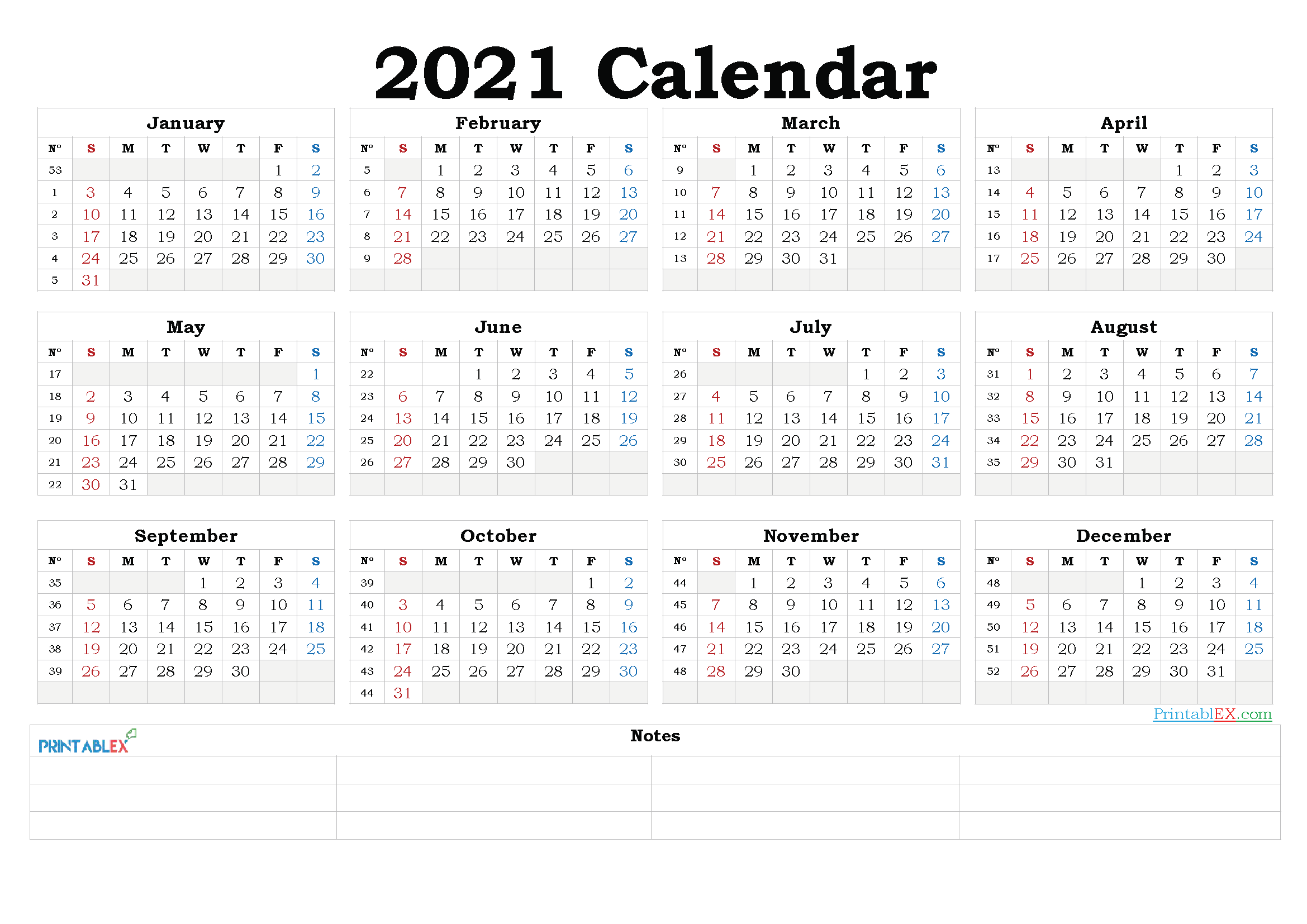 2021 Yearly Calendar Template Word - 21ytw185 - Free 2020 ...