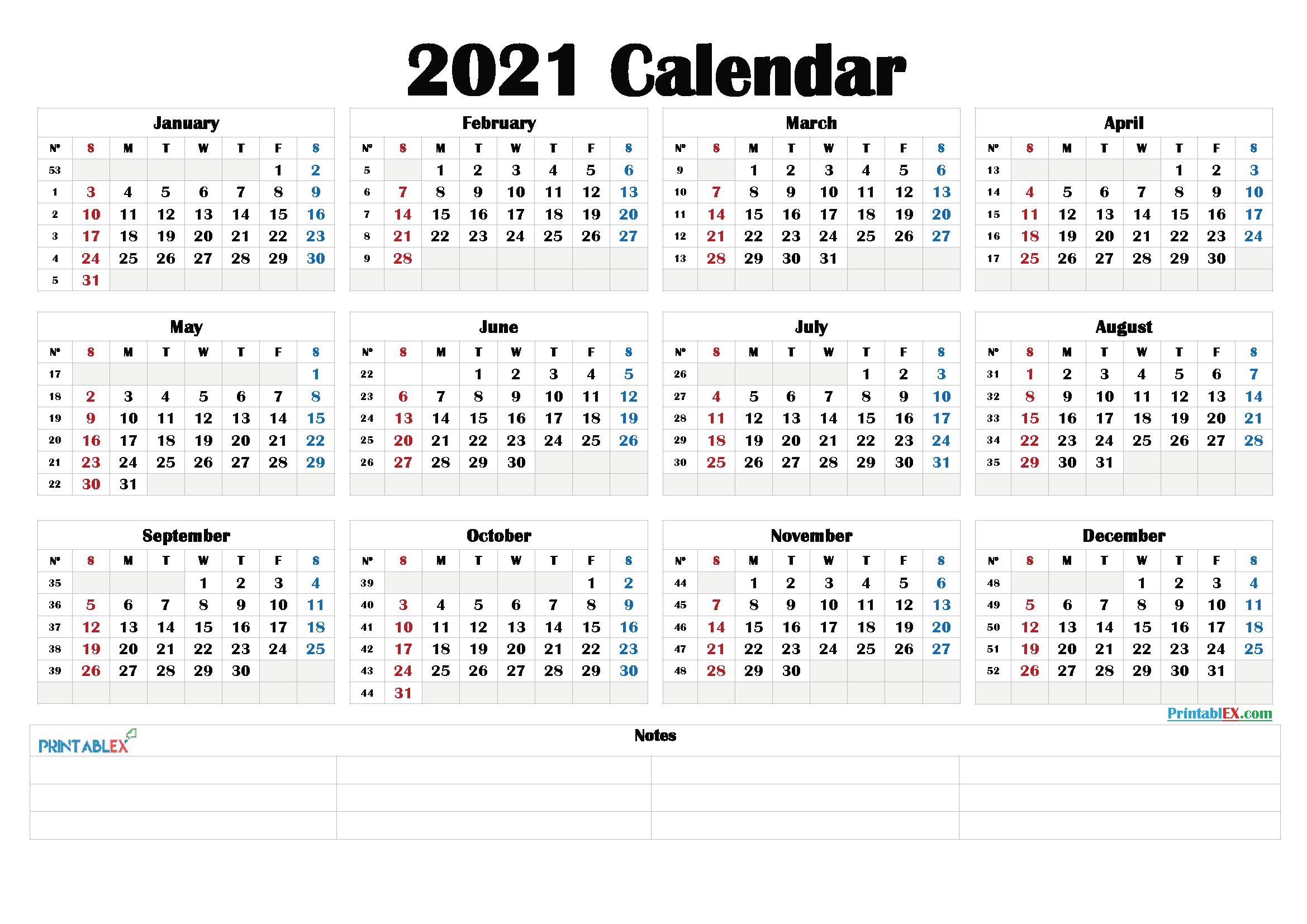 2021 Calendar With Week Number Printable Free / Download ...