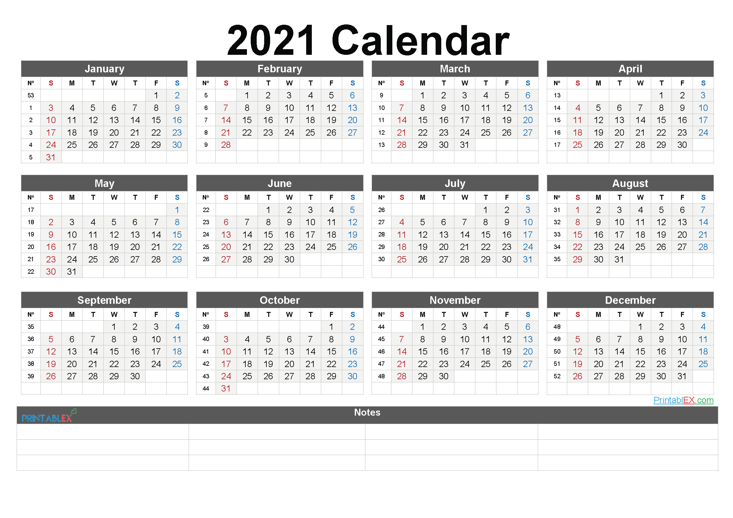 Calendar 2021 Weeks - United States Map