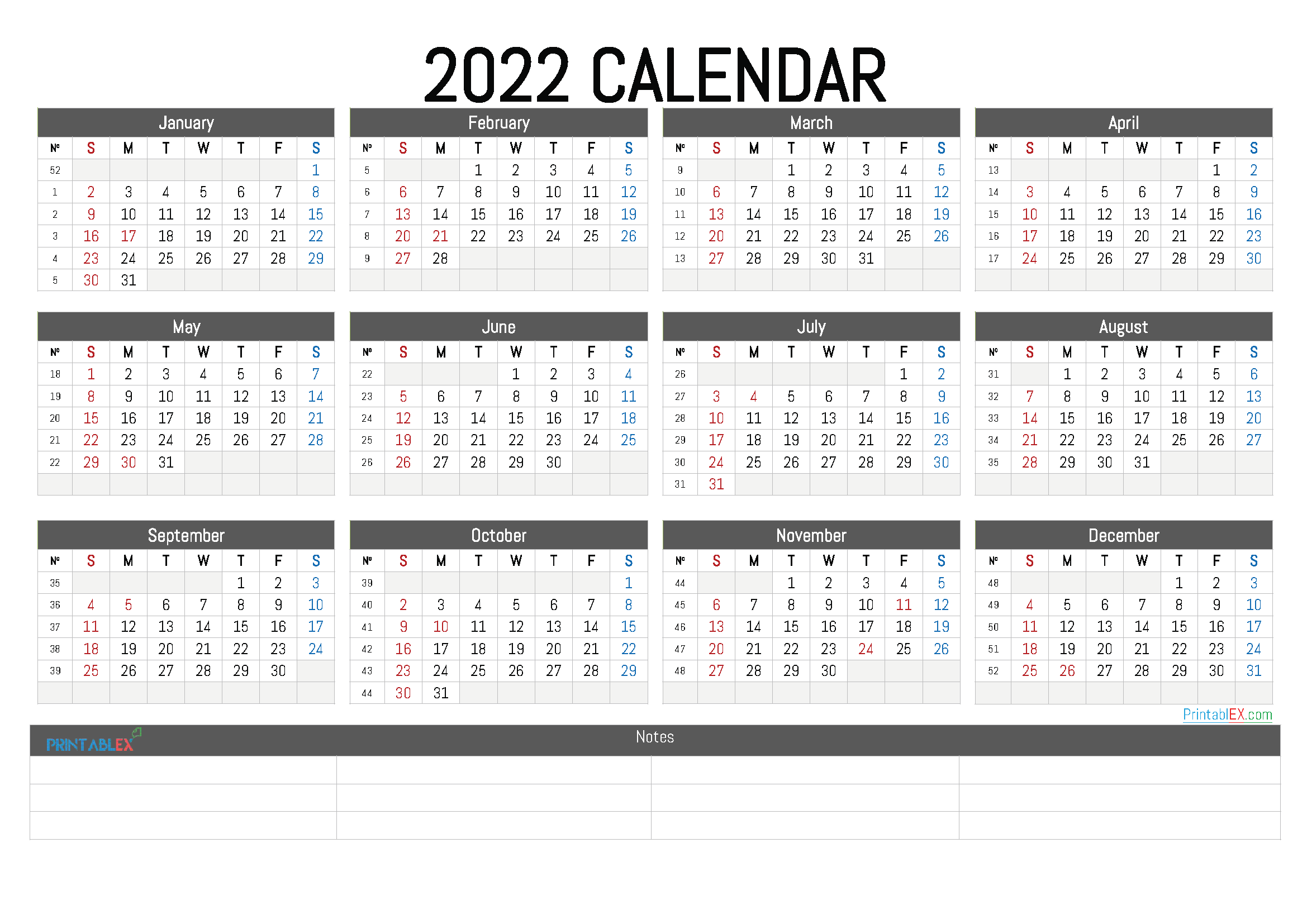 Free Printable 2022 Calendar by Year (Font: adven)