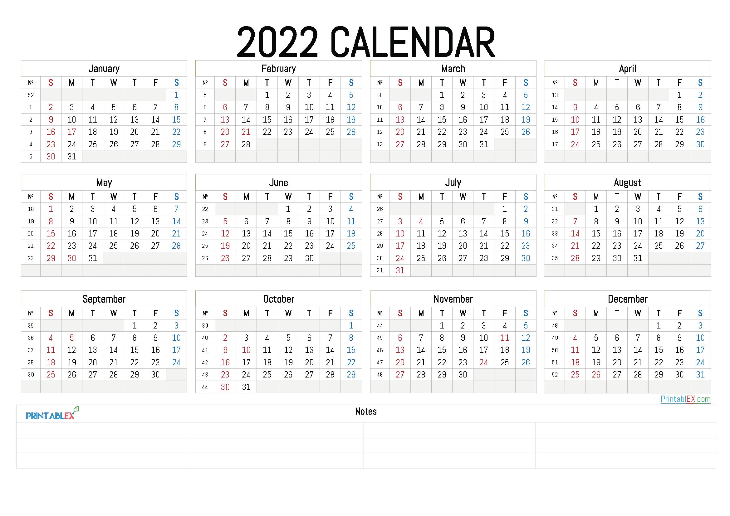 2022 Annual Calendar Printable (Font: bahns)