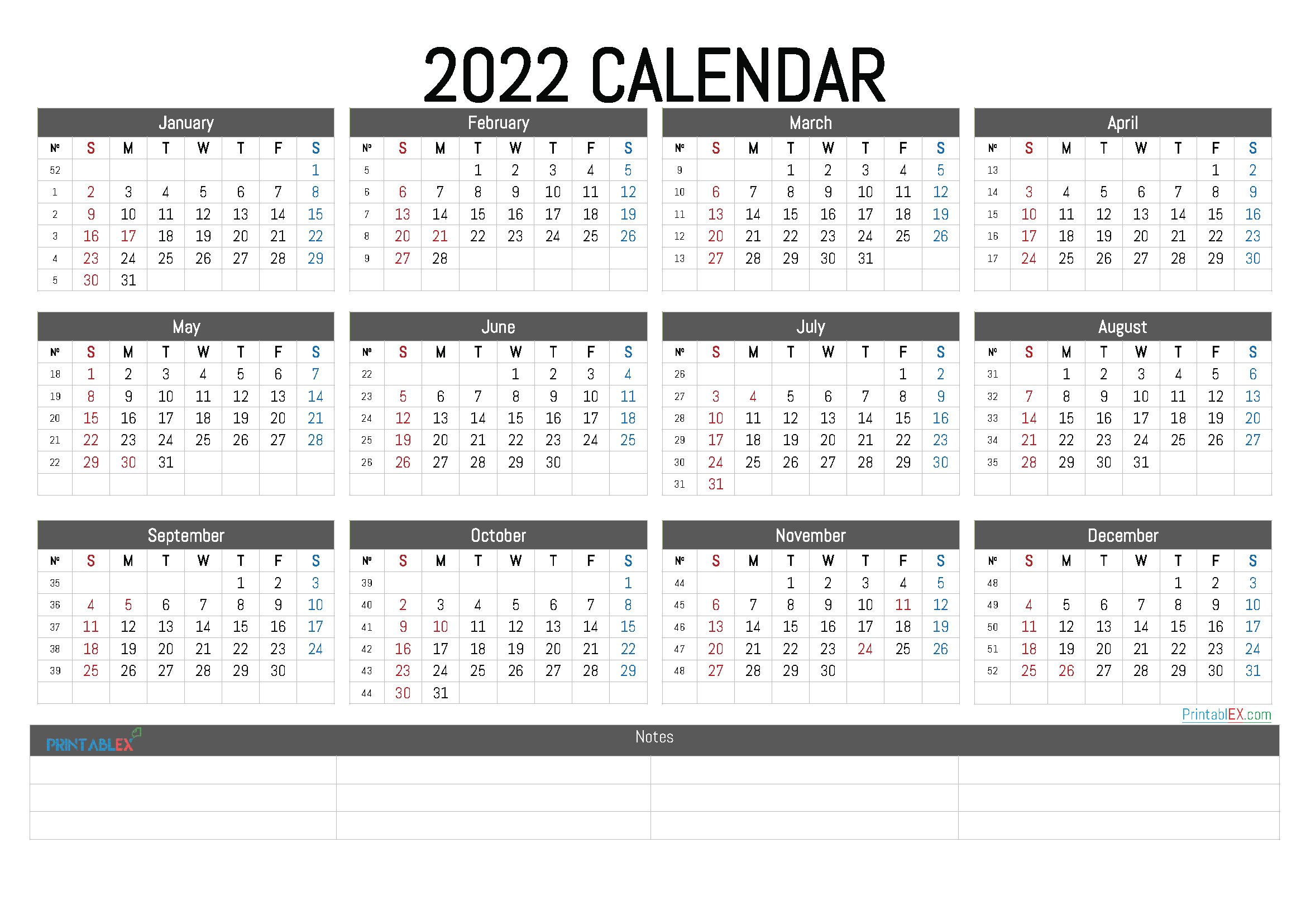 Free Printable 2022 Calendar by Month (Font: acme)