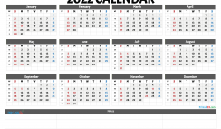 2022 Free Printable Yearly Calendar with Week Numbers