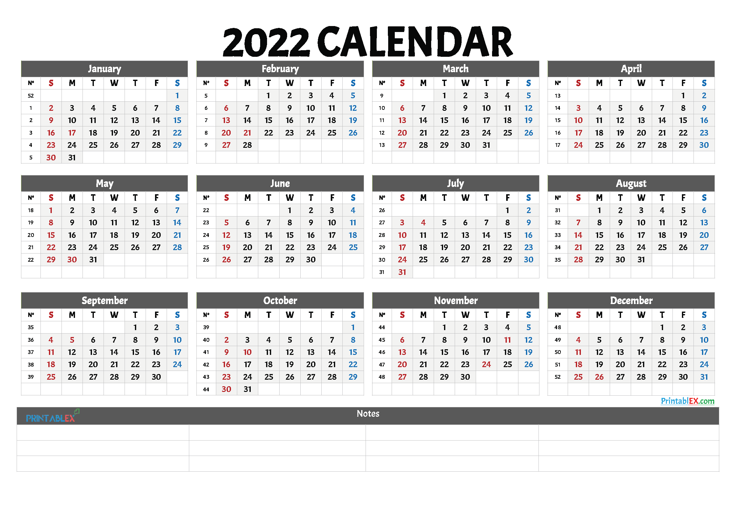 2022 Free Printable Yearly Calendar with Week Numbers (Font: baron)