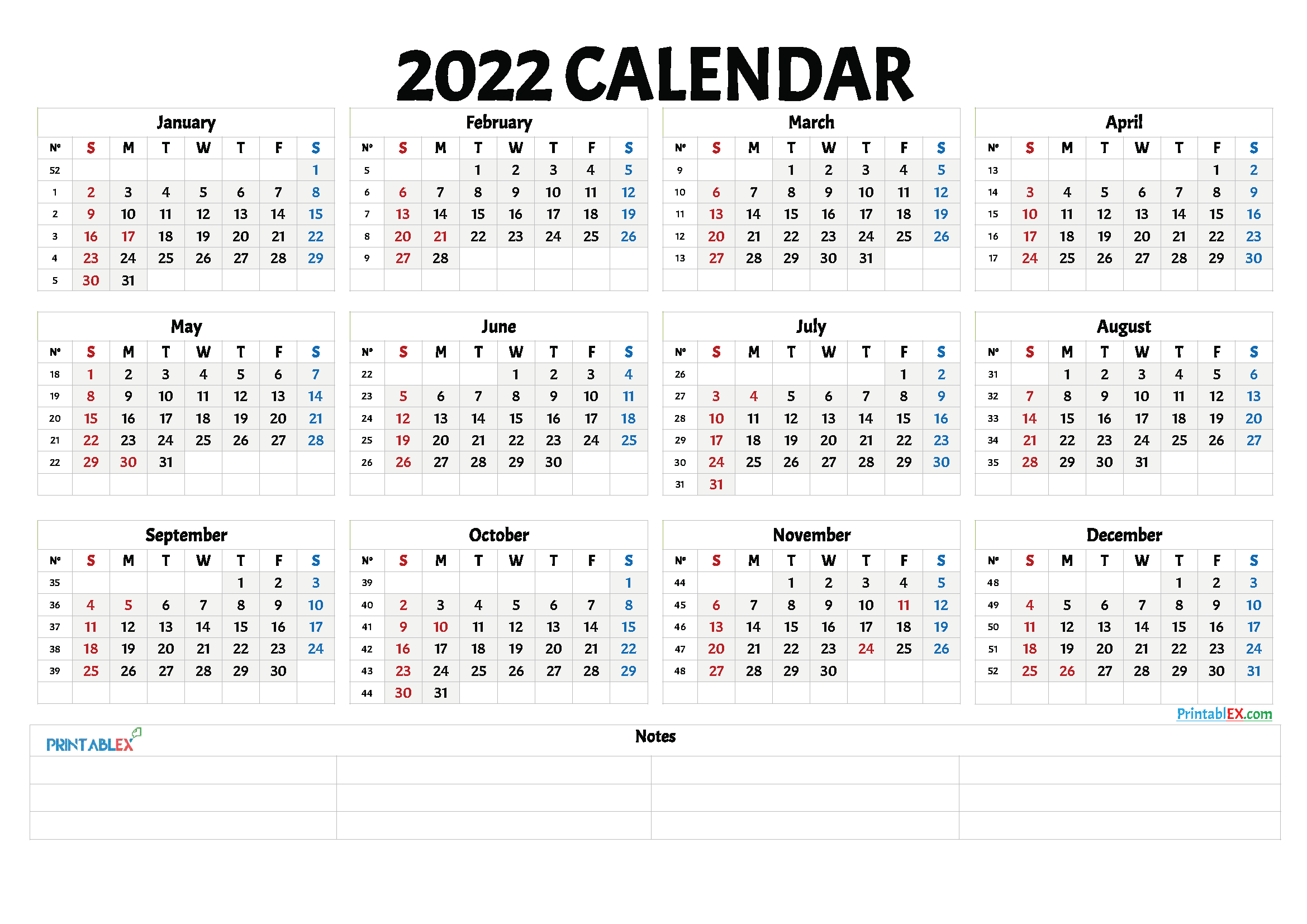 Free Printable 2022 Yearly Calendar with Week Numbers (Font: bauha)