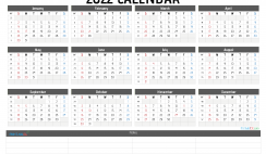 Printable 2022 Yearly Calendar with Week Numbers