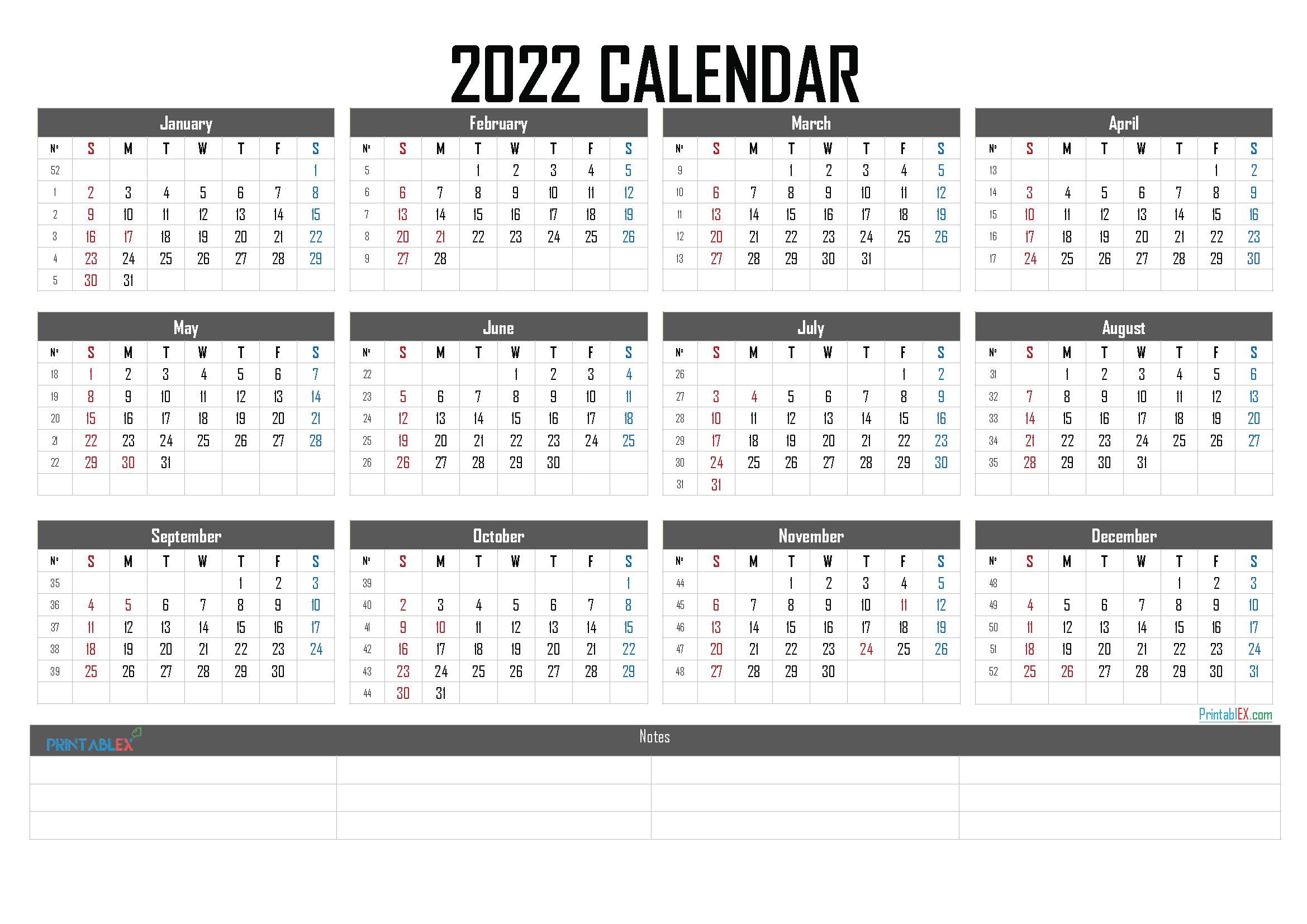 2022 Calendar with Week Numbers Printable (Font: bevan)